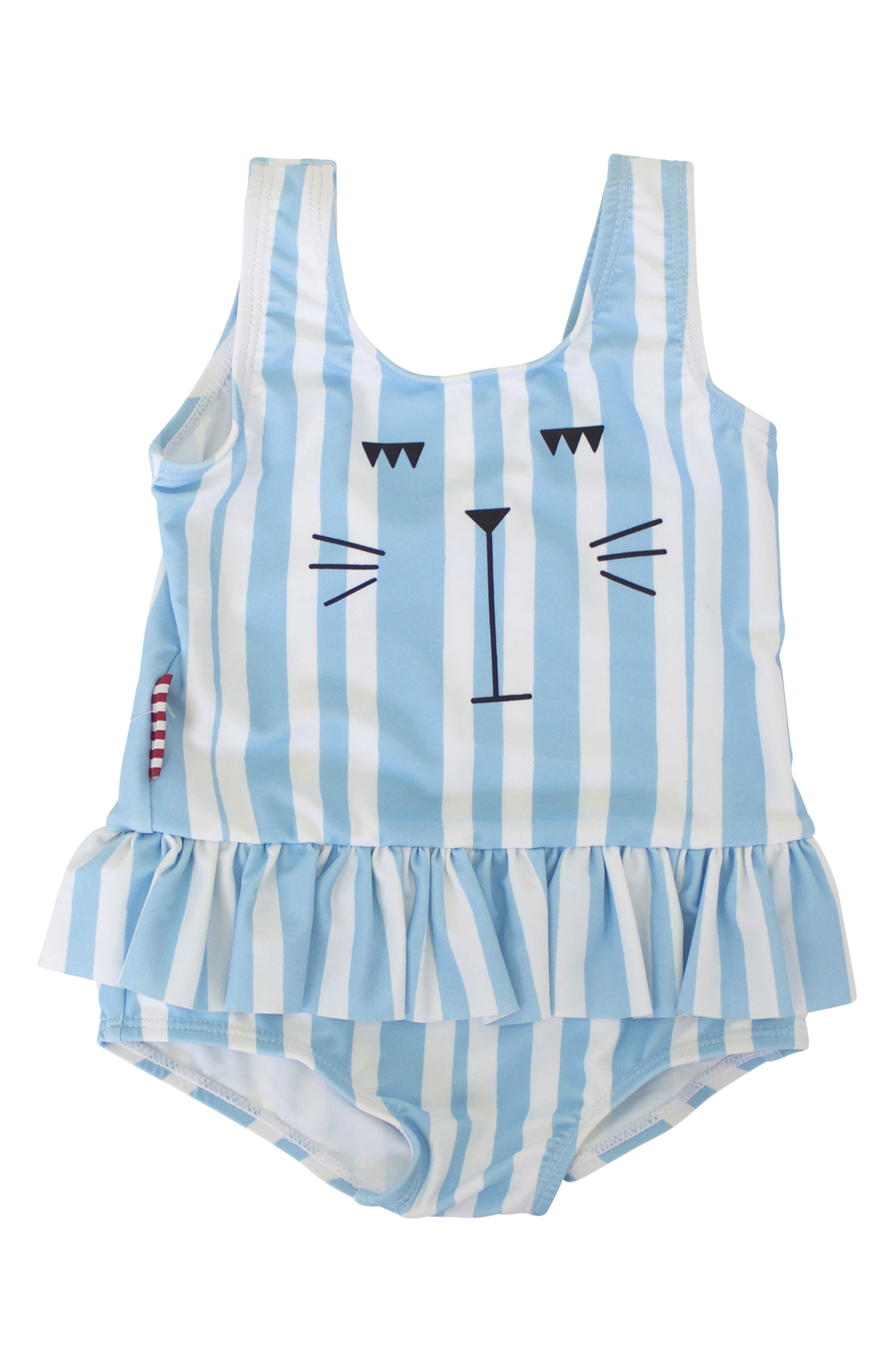 SOOKIbaby Cat Face Skirted One-Piece Swimsuit (Baby Girls)