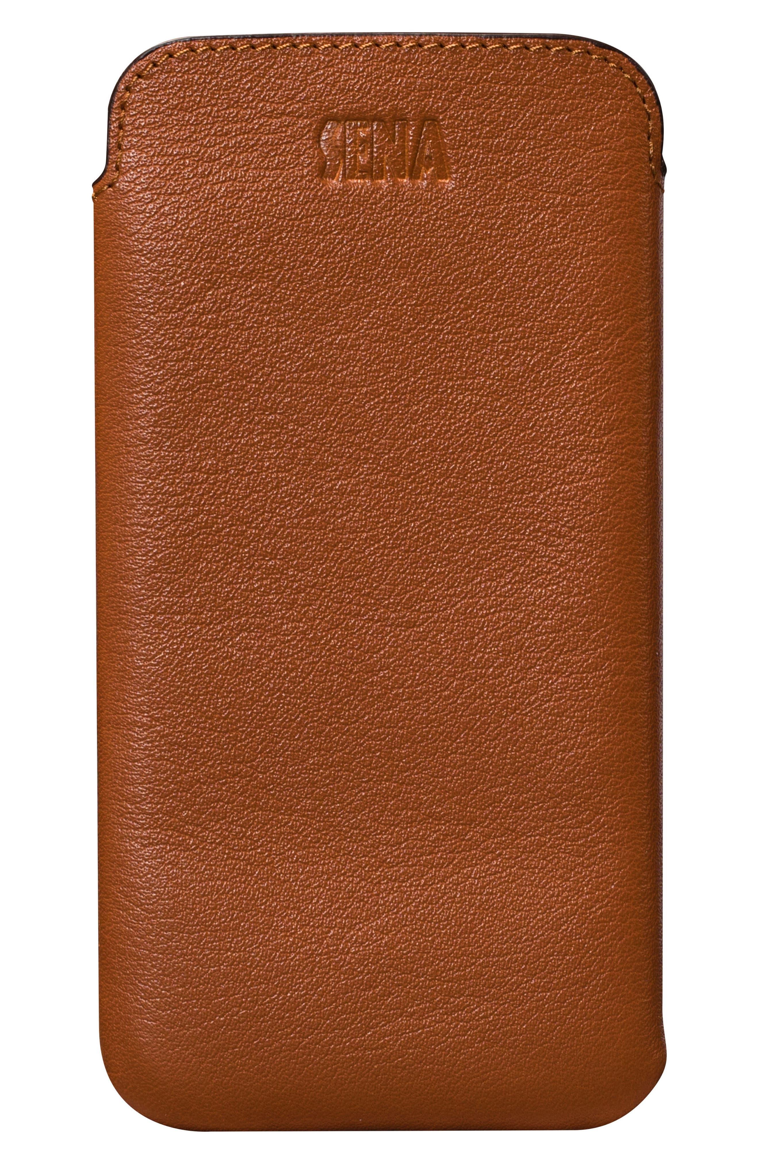 Ultraslim iPhone X Leather Sleeve,                         Main,                         color, Tan
