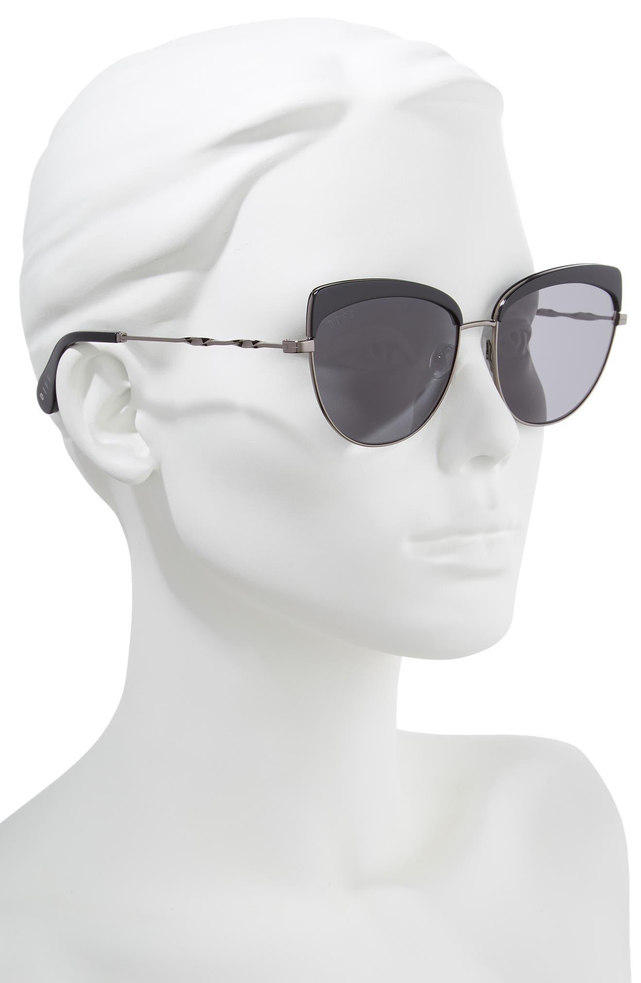 Izzy 59mm Polarized Cat Eye Sunglasses,                             Alternate thumbnail 2, color,                             Black/ Grey