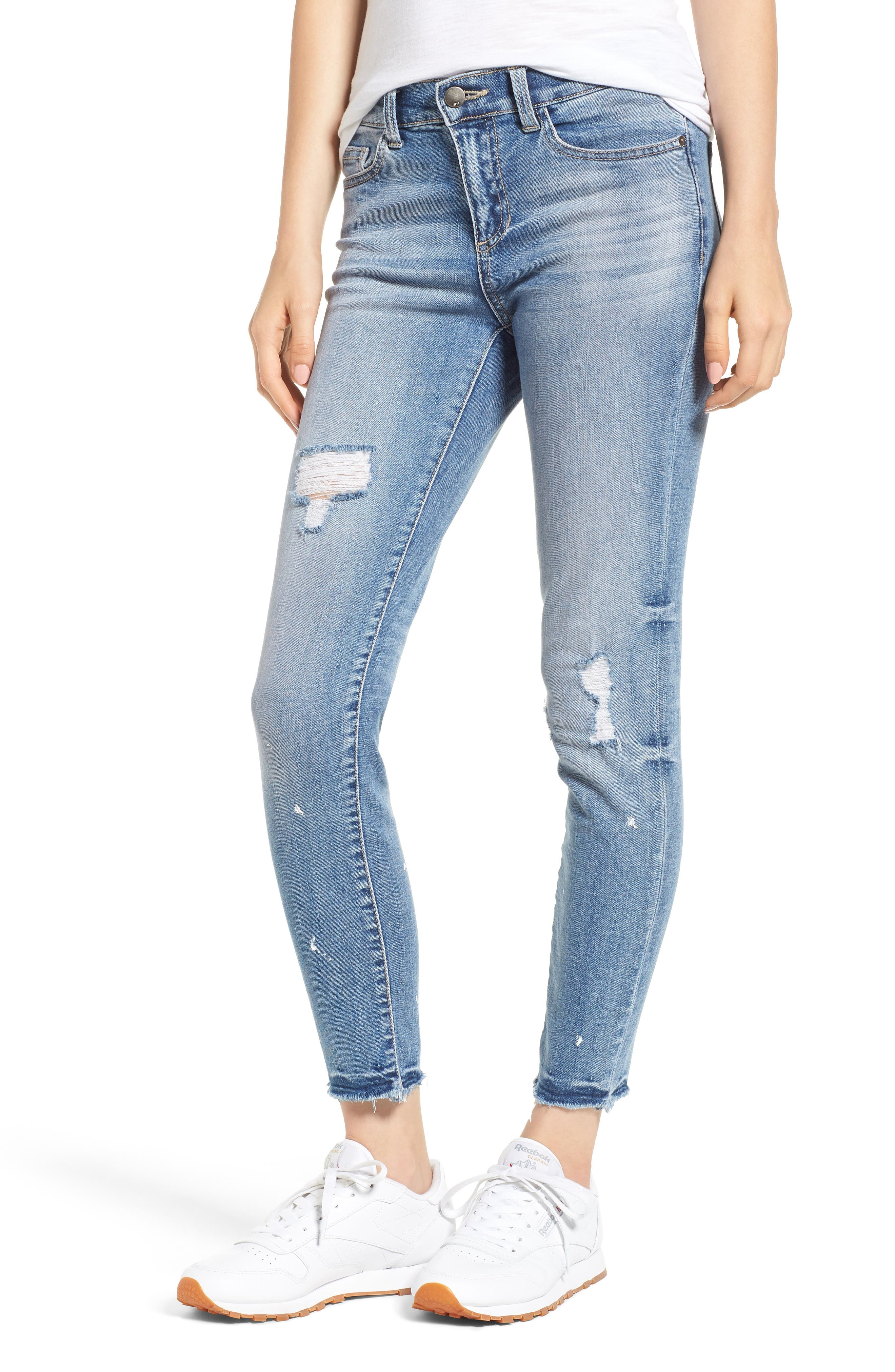 Ripped Skinny Jeans,                             Main thumbnail 1, color,                             Light Wash