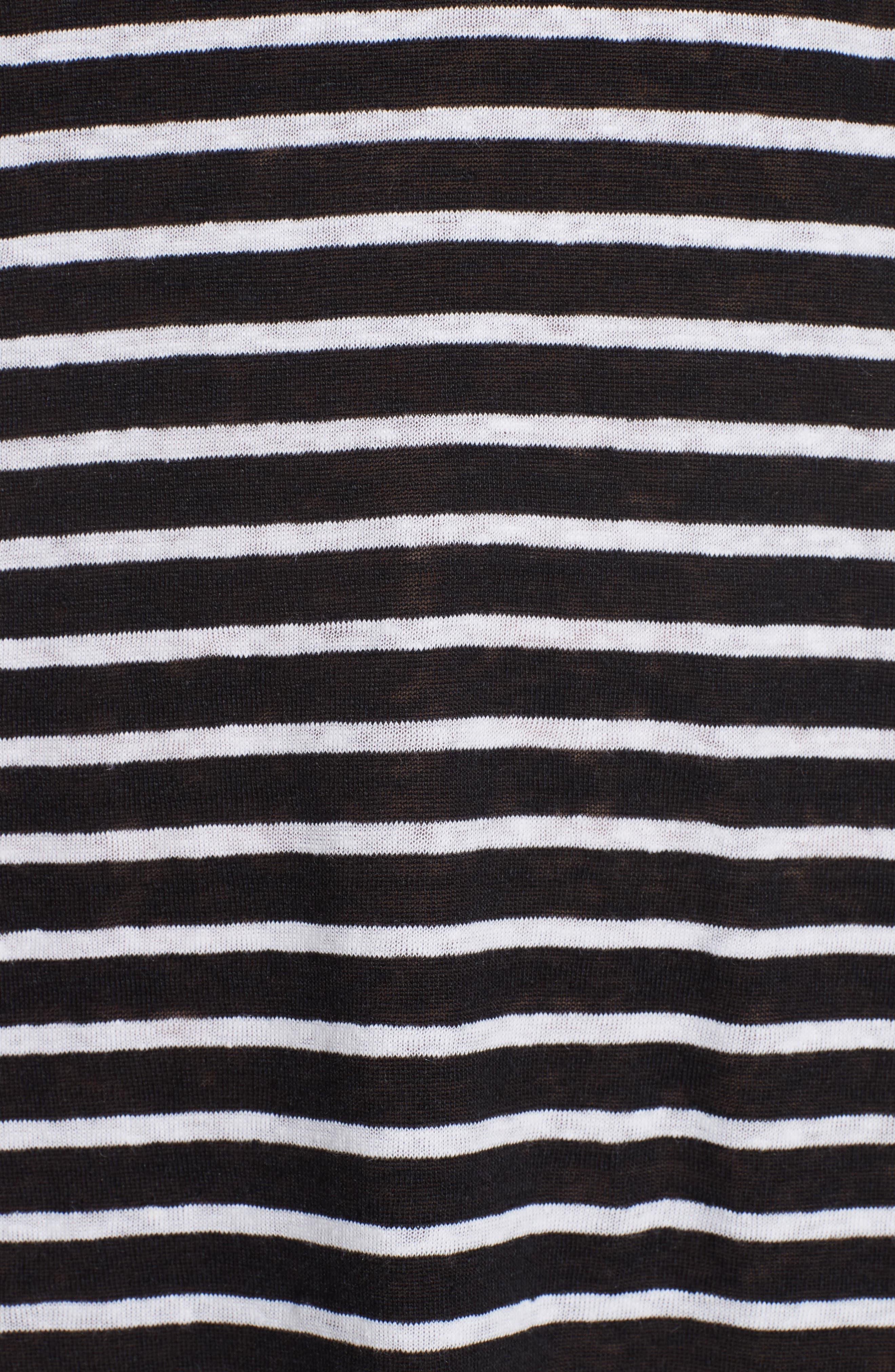 Stripe Organic Linen Knit Shift Dress,                             Alternate thumbnail 5, color,                             Black/ White