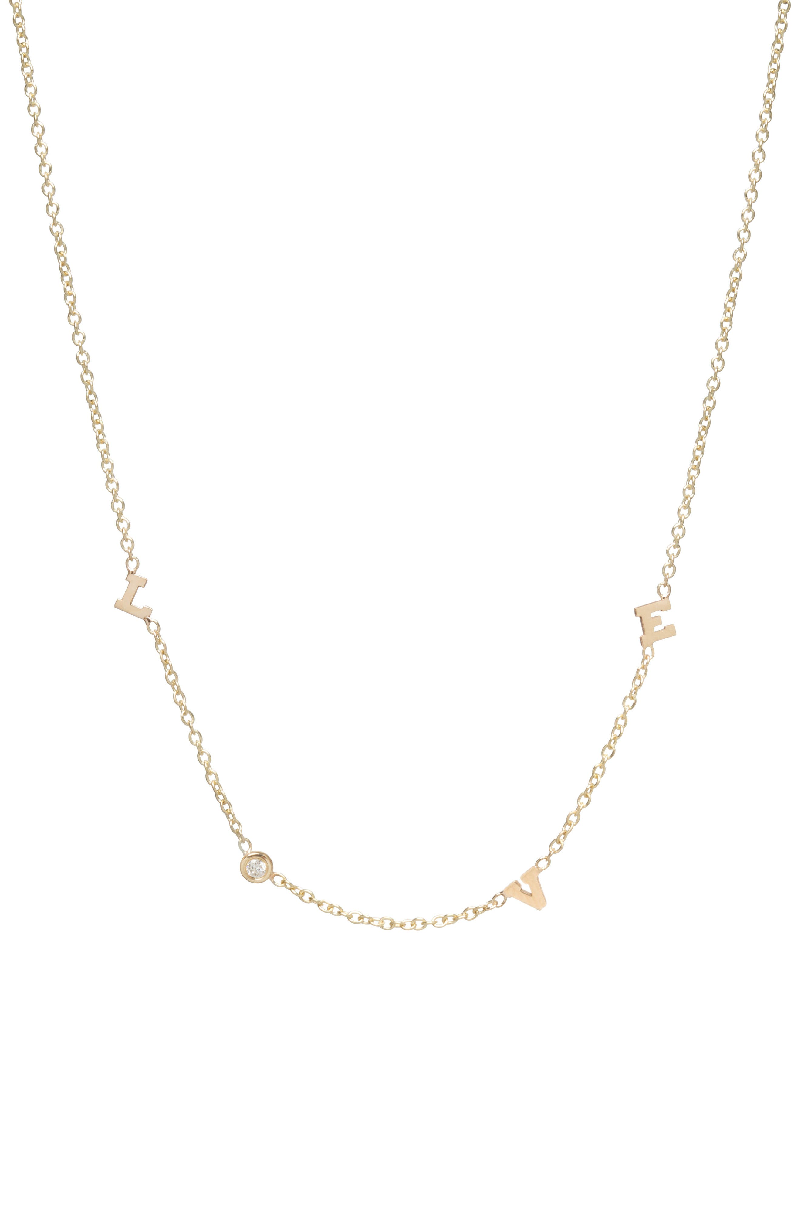 Itty Bitty Love Diamond Necklace,                             Alternate thumbnail 3, color,                             Yellow Gold