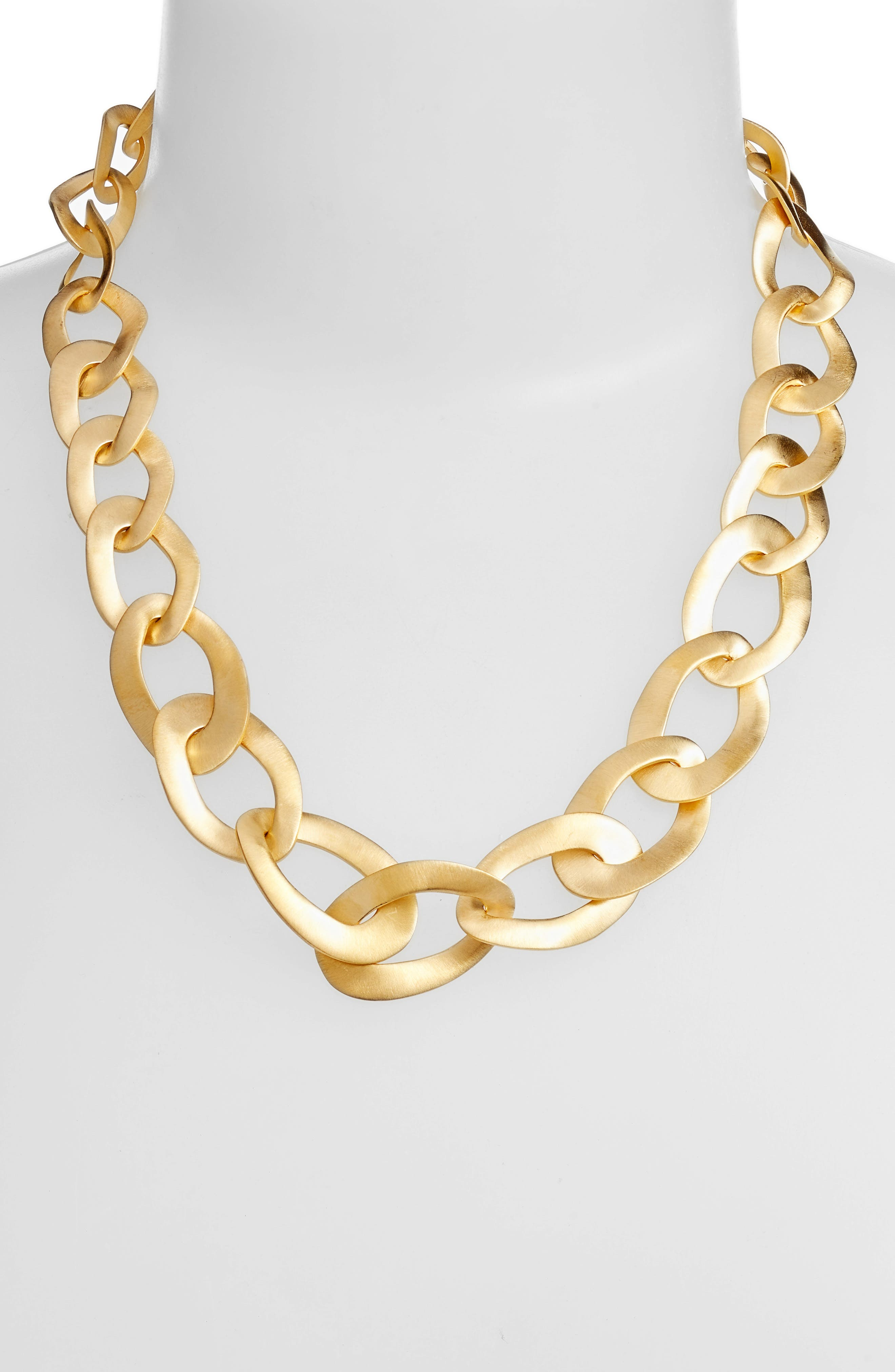 Carved Link Collar Necklace,                             Alternate thumbnail 2, color,                             Gold