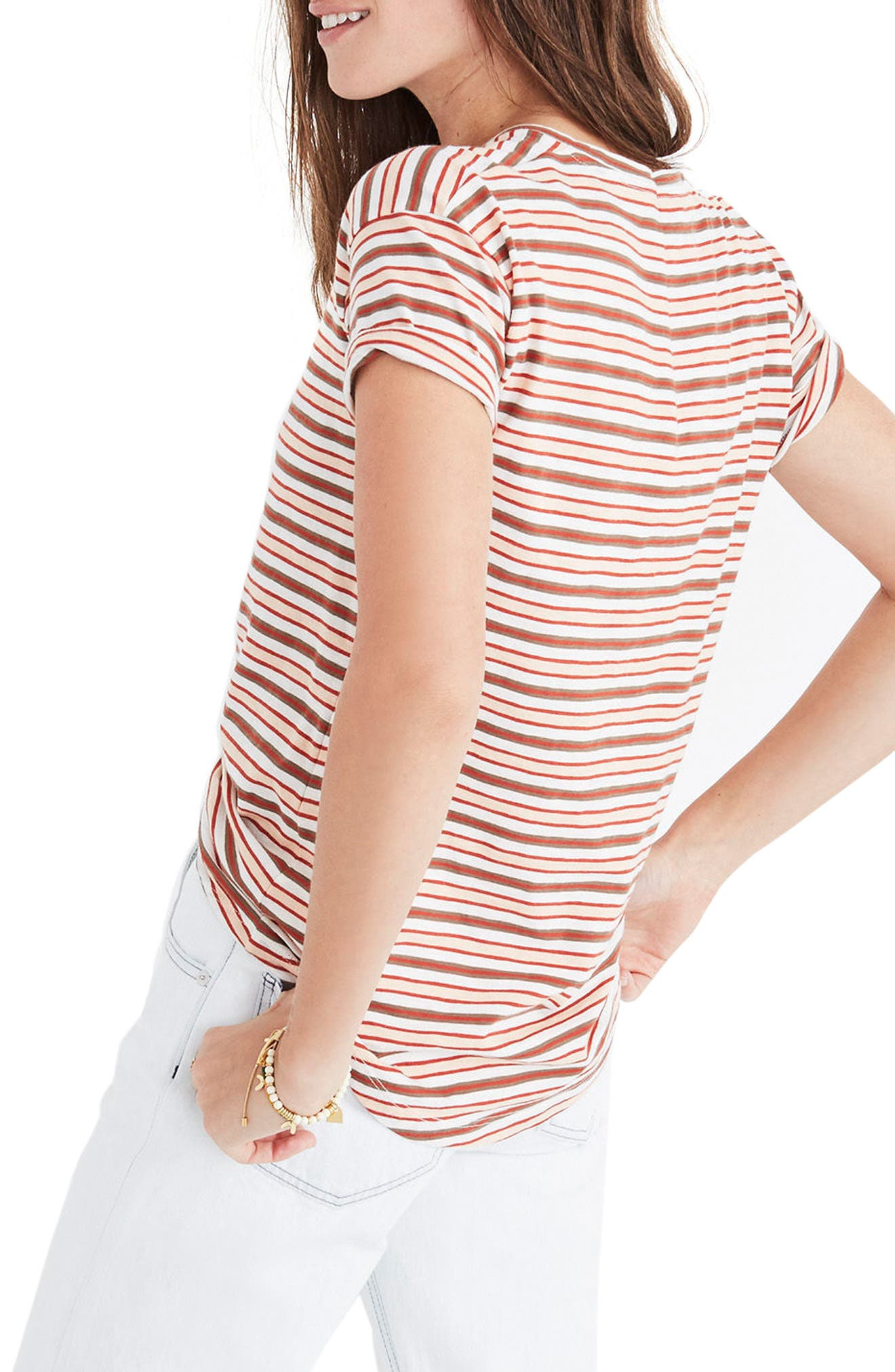 Whisper Cotton Stripe Crewneck Tee,                             Alternate thumbnail 2, color,                             Muted Shell