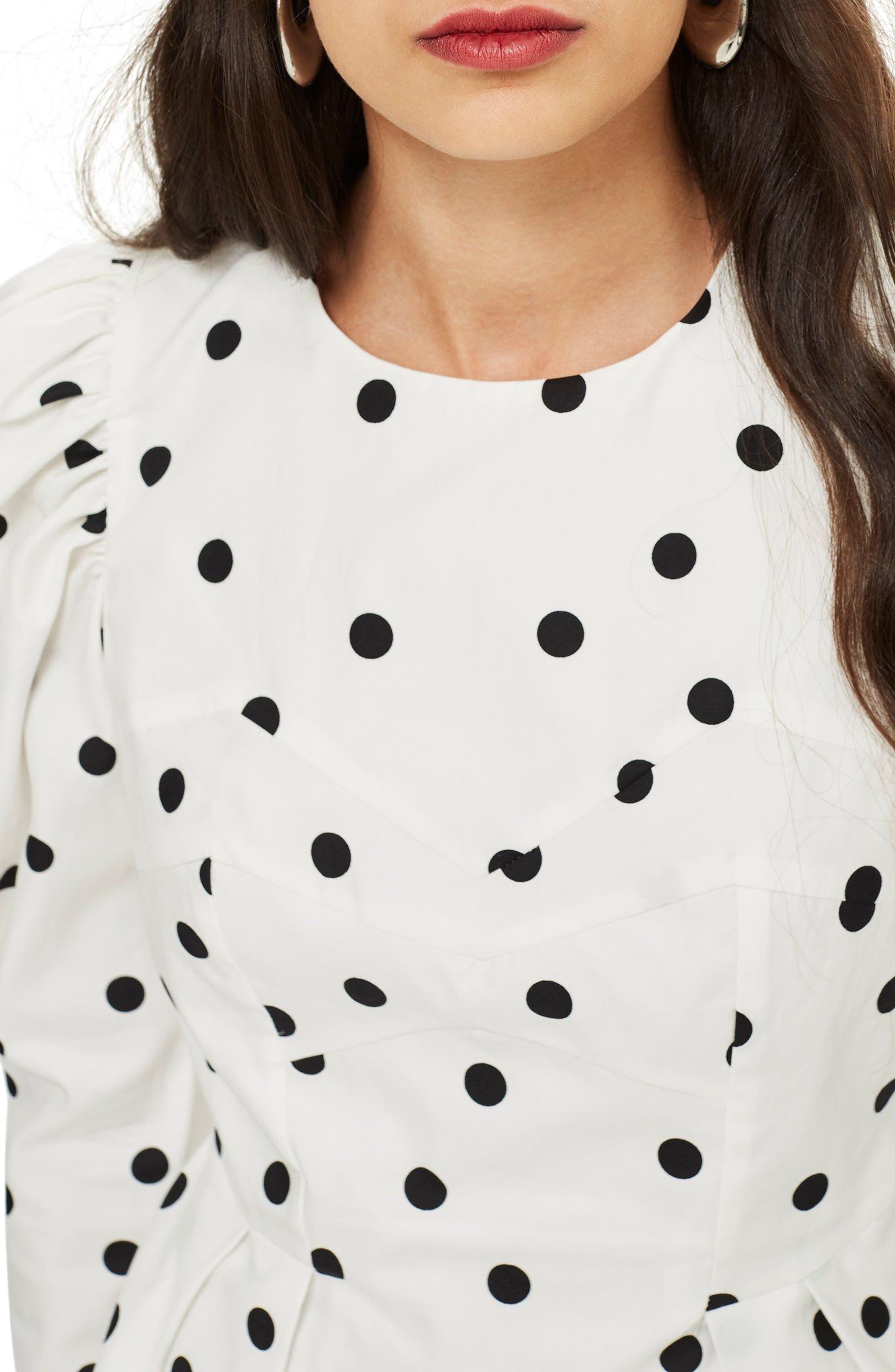 Puff Sleeve Polka Dot Minidress,                             Alternate thumbnail 3, color,                             Ivory Multi