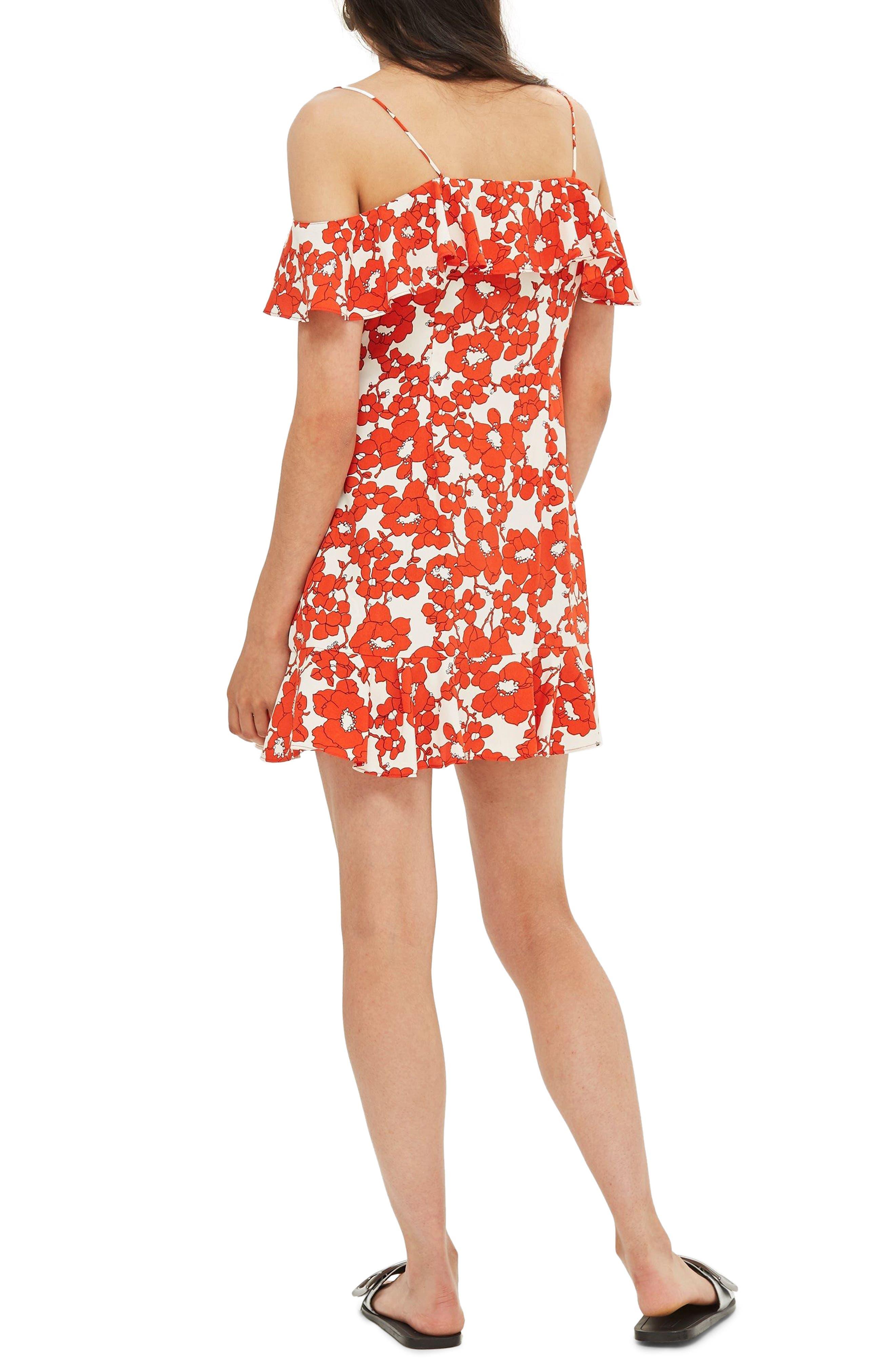 Poppy Ruffle Wrap Minidress,                             Alternate thumbnail 2, color,                             Red Multi