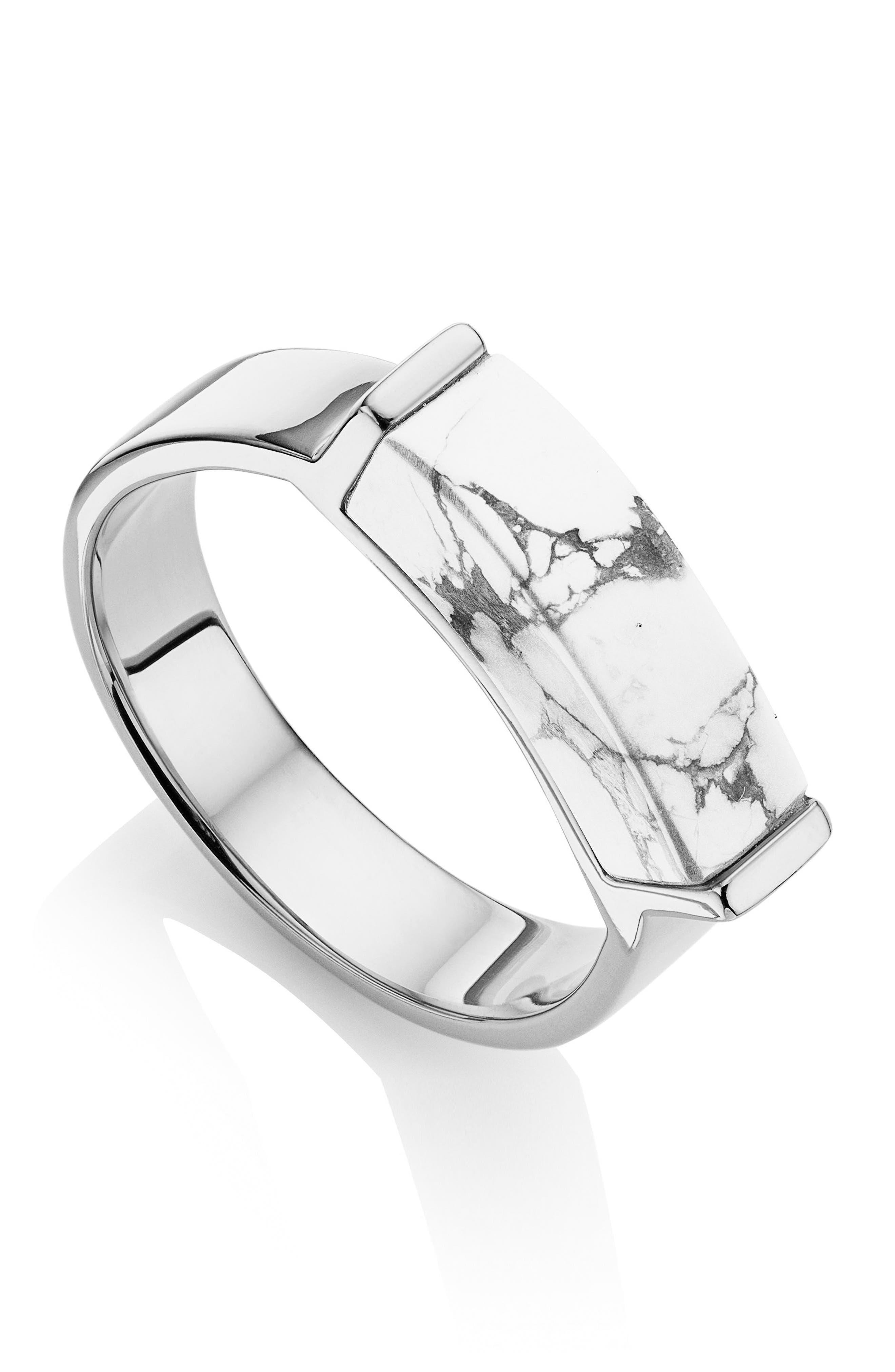 Baja Deco Ring,                         Main,                         color, Silver/ Howlite