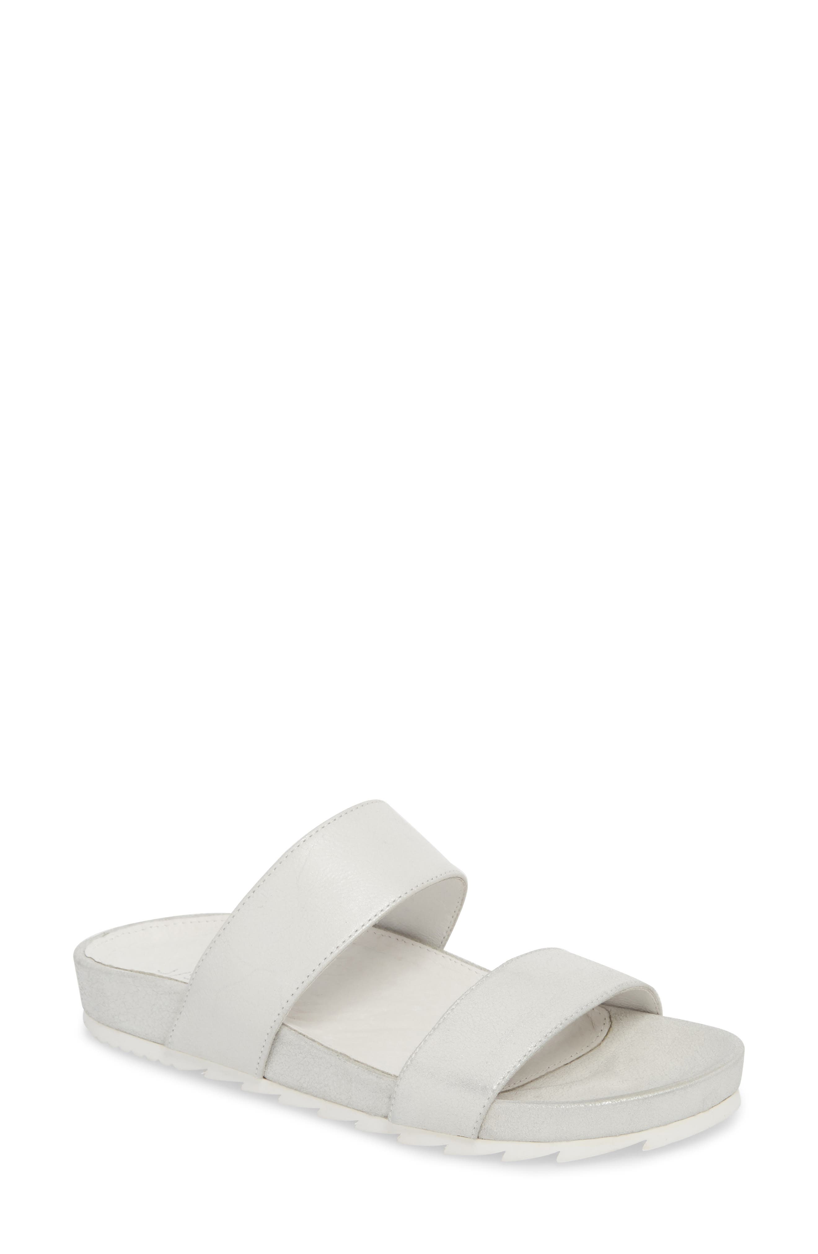 Edie Sandal,                         Main,                         color, Silver Fabric