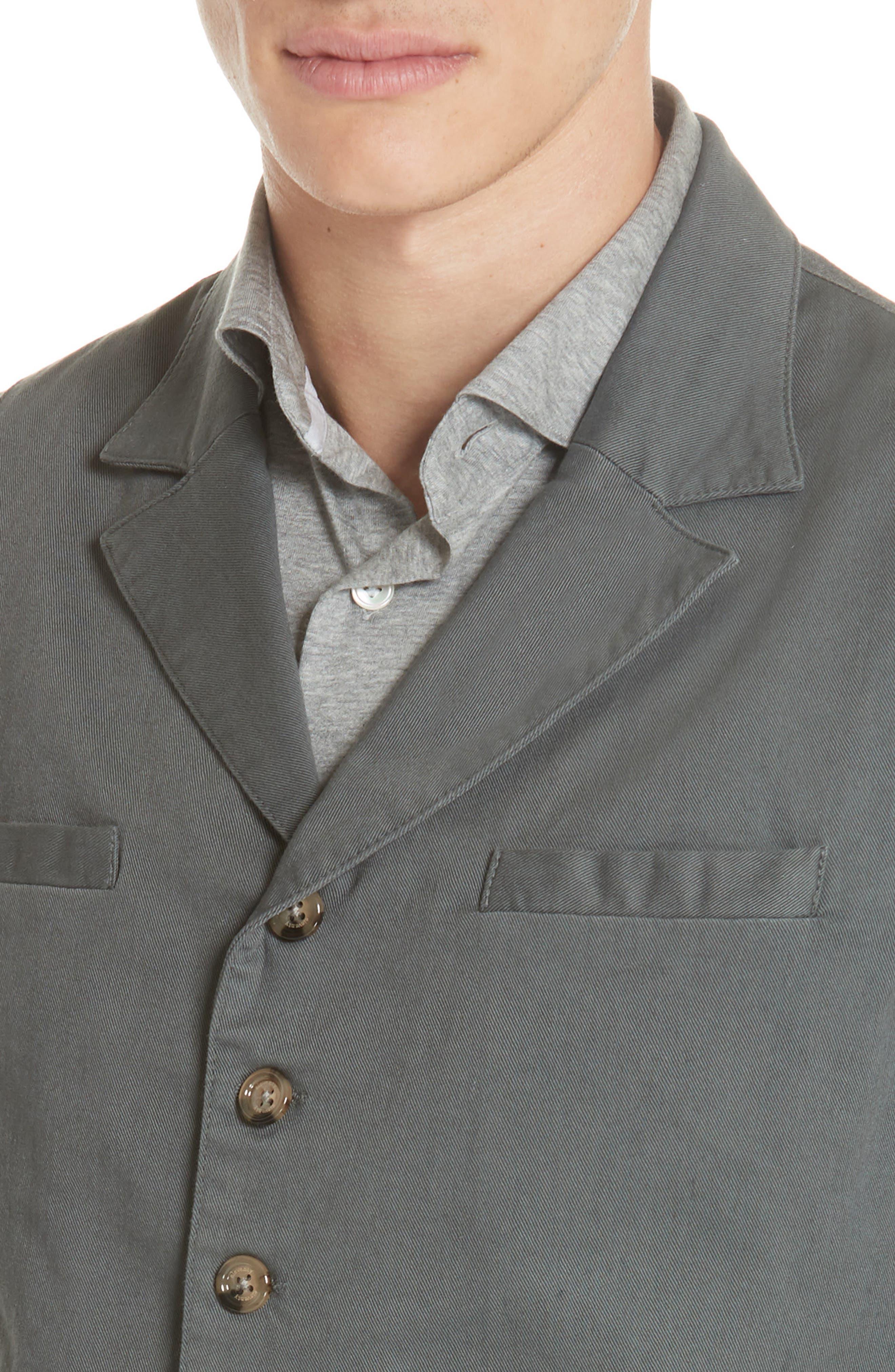 Slim Fit Stretch Cotton Twill Vest,                             Alternate thumbnail 4, color,                             Dark Grey