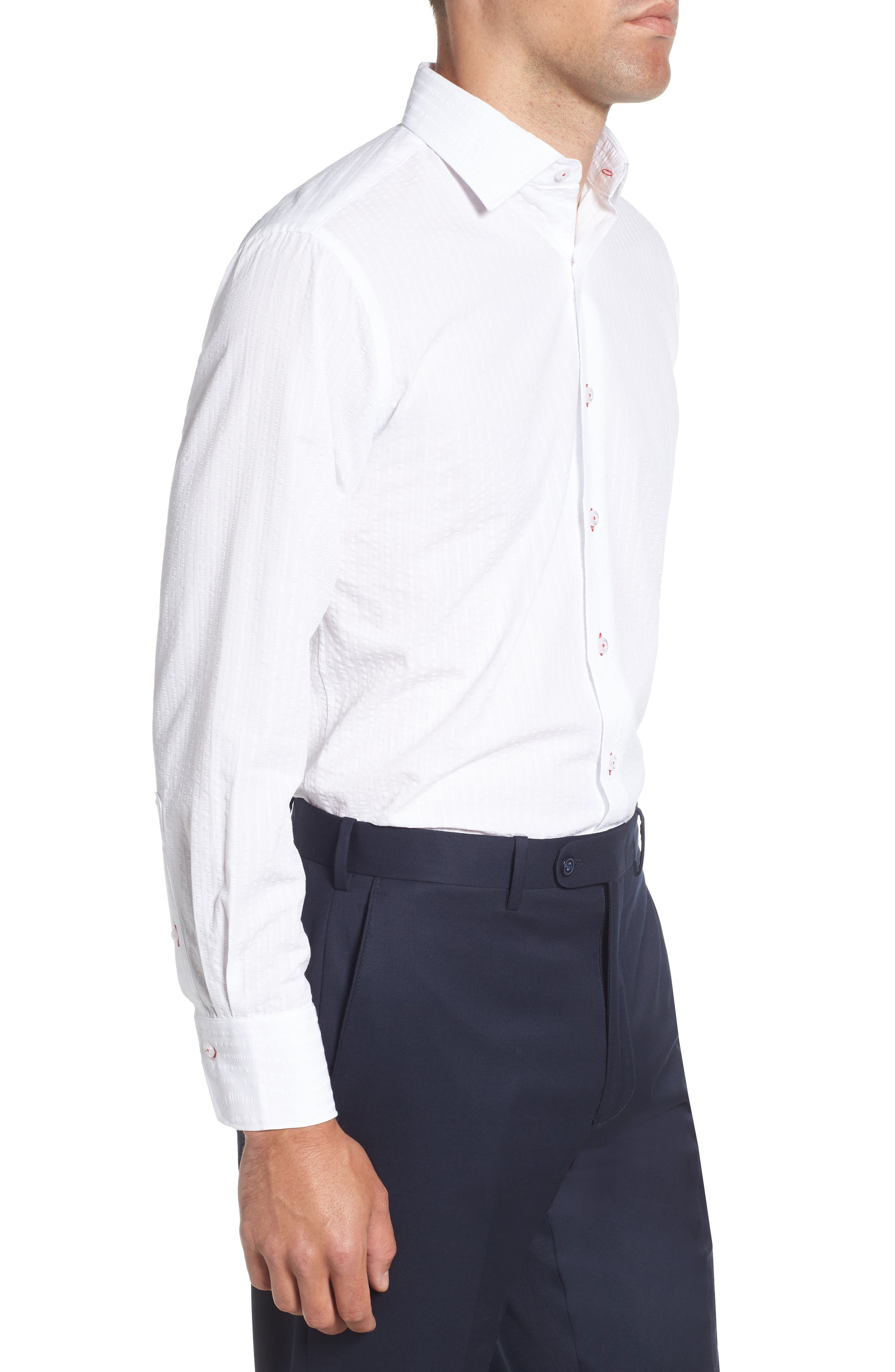 Trim Fit Seersucker Dress Shirt,                             Alternate thumbnail 4, color,                             White