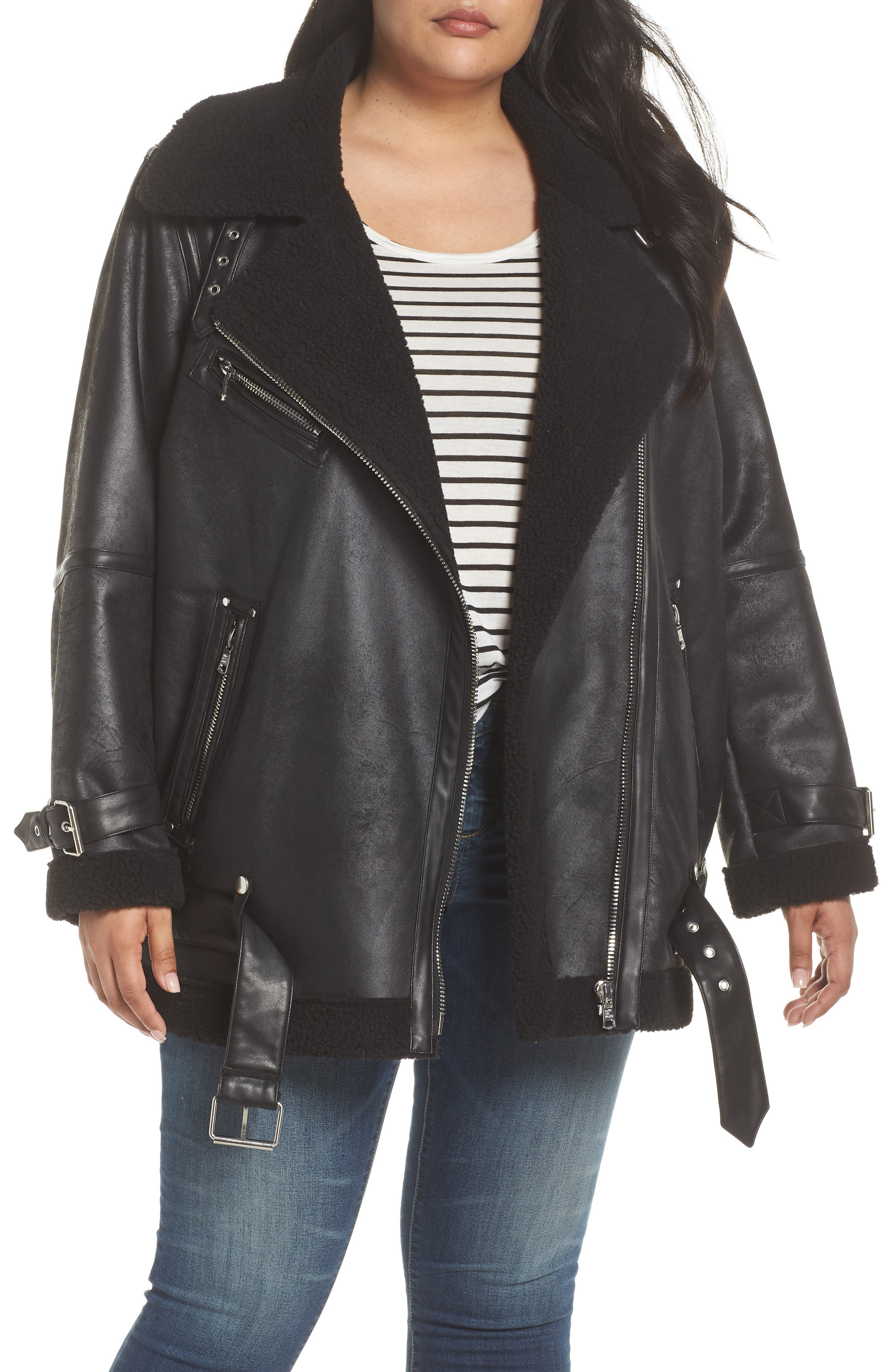 Faux Shearling Biker Jacket,                             Main thumbnail 1, color,                             Black