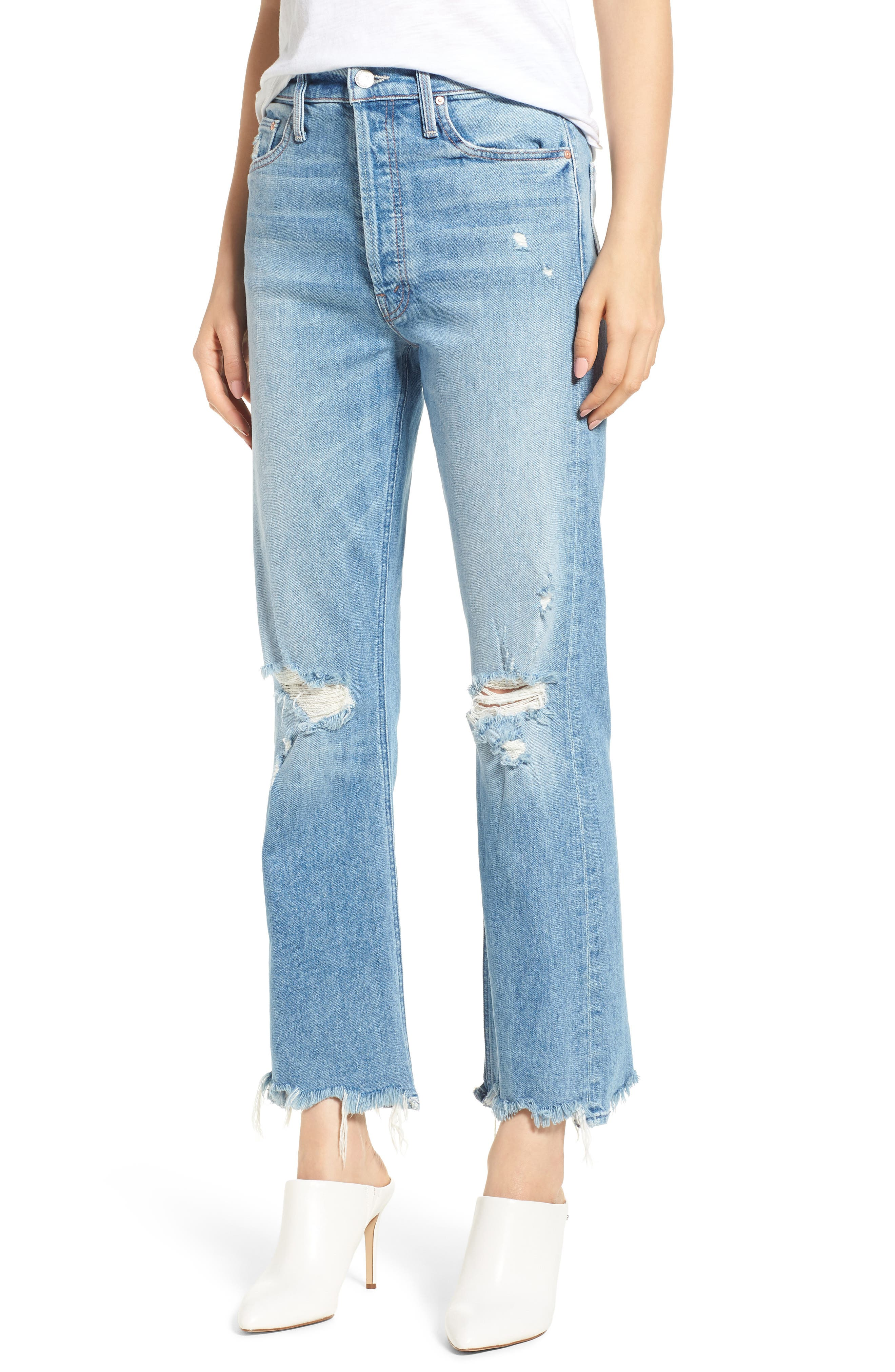 MOTHER The Tripper Ripped Ankle Flare Jeans (Misbeliever)