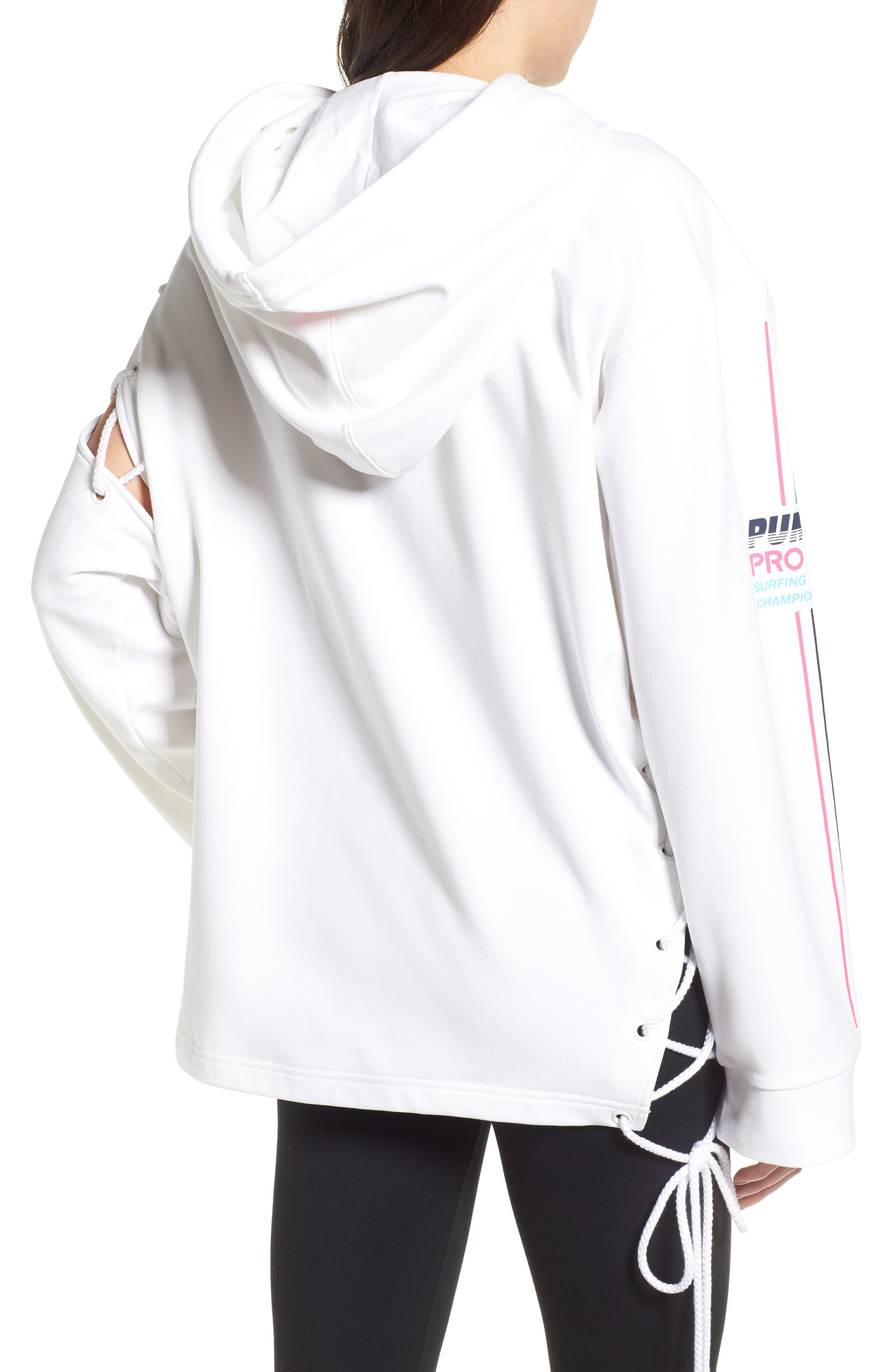 PUMA by Rihanna Lace-Up Side Hoodie,                             Alternate thumbnail 2, color,                             Bright White