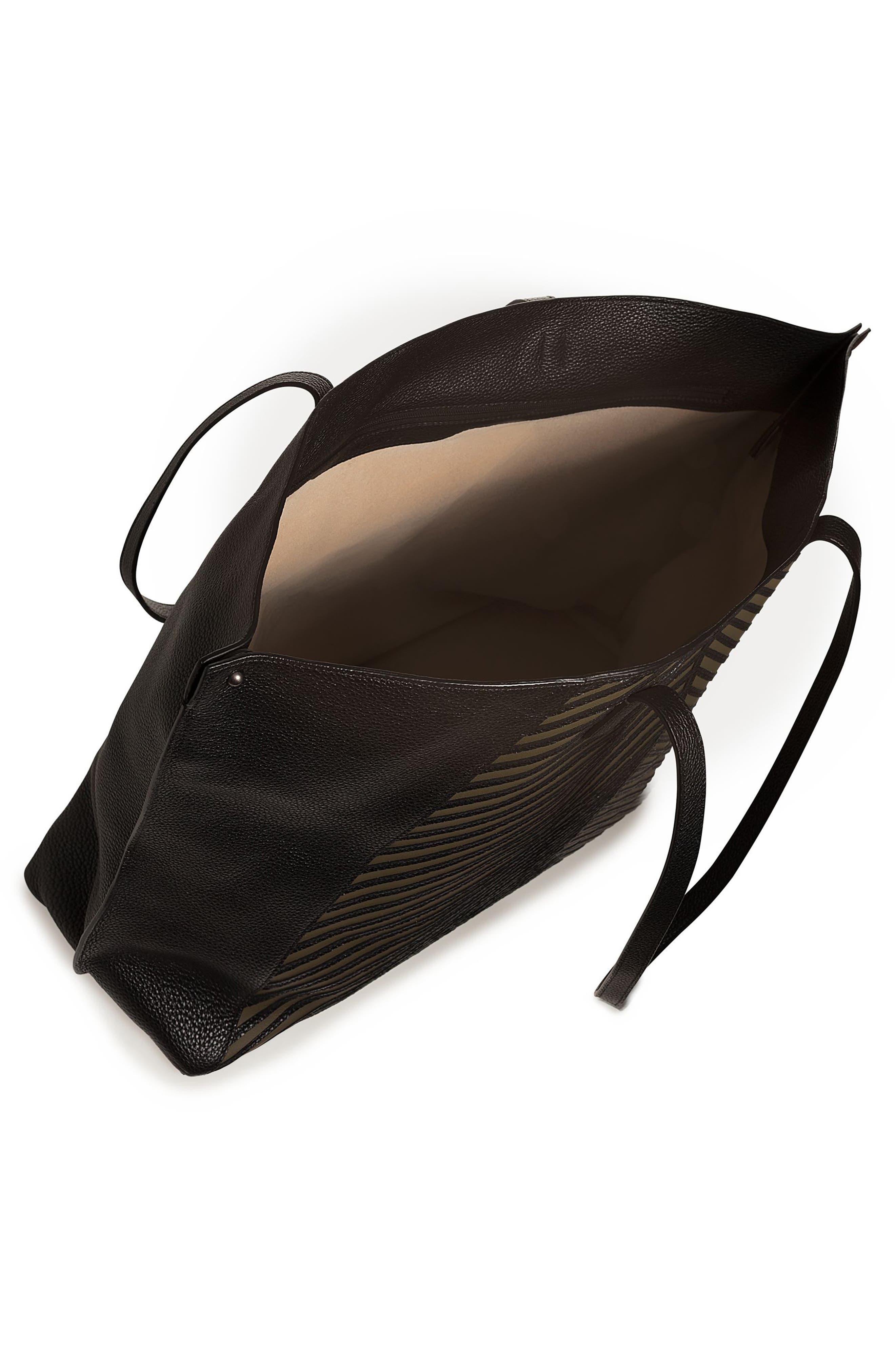 Medium AI Leather Tote,                             Alternate thumbnail 3, color,                             Olive/ Black