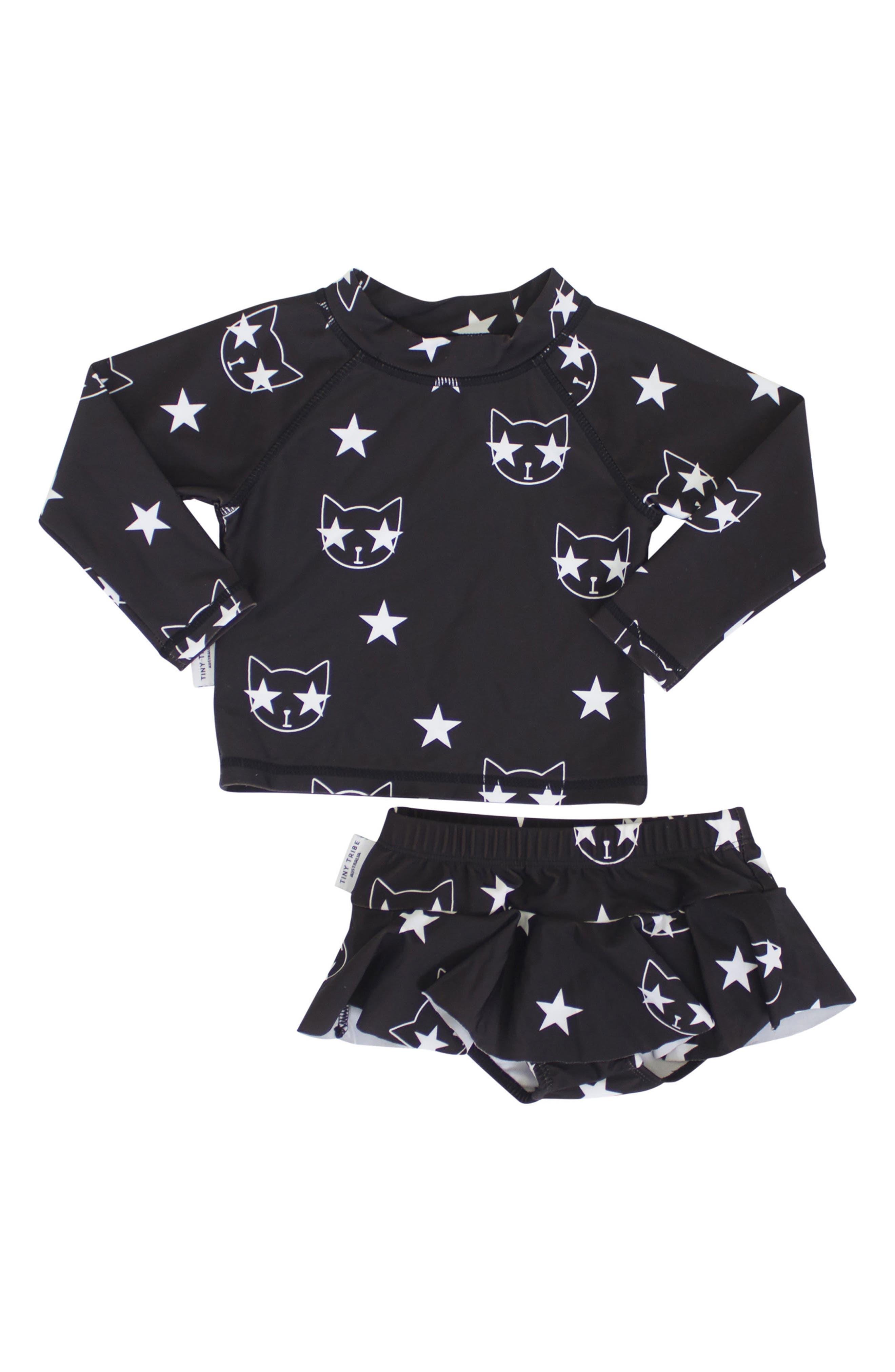 Star Cat Two-Piece Swimsuit,                             Main thumbnail 1, color,                             Black