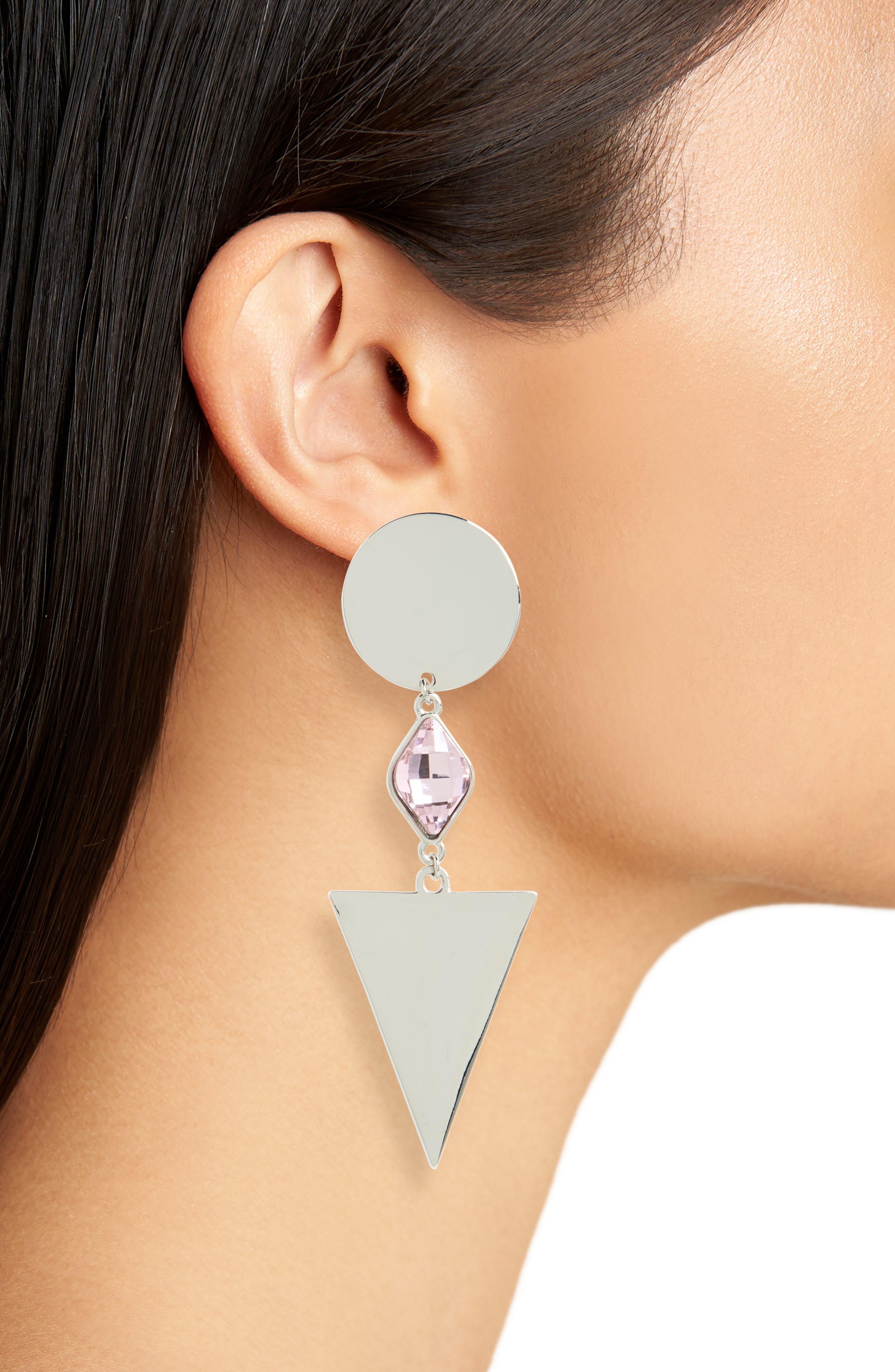 Geometric Crystal Drop Earrings,                             Alternate thumbnail 2, color,                             Silver/ Pink