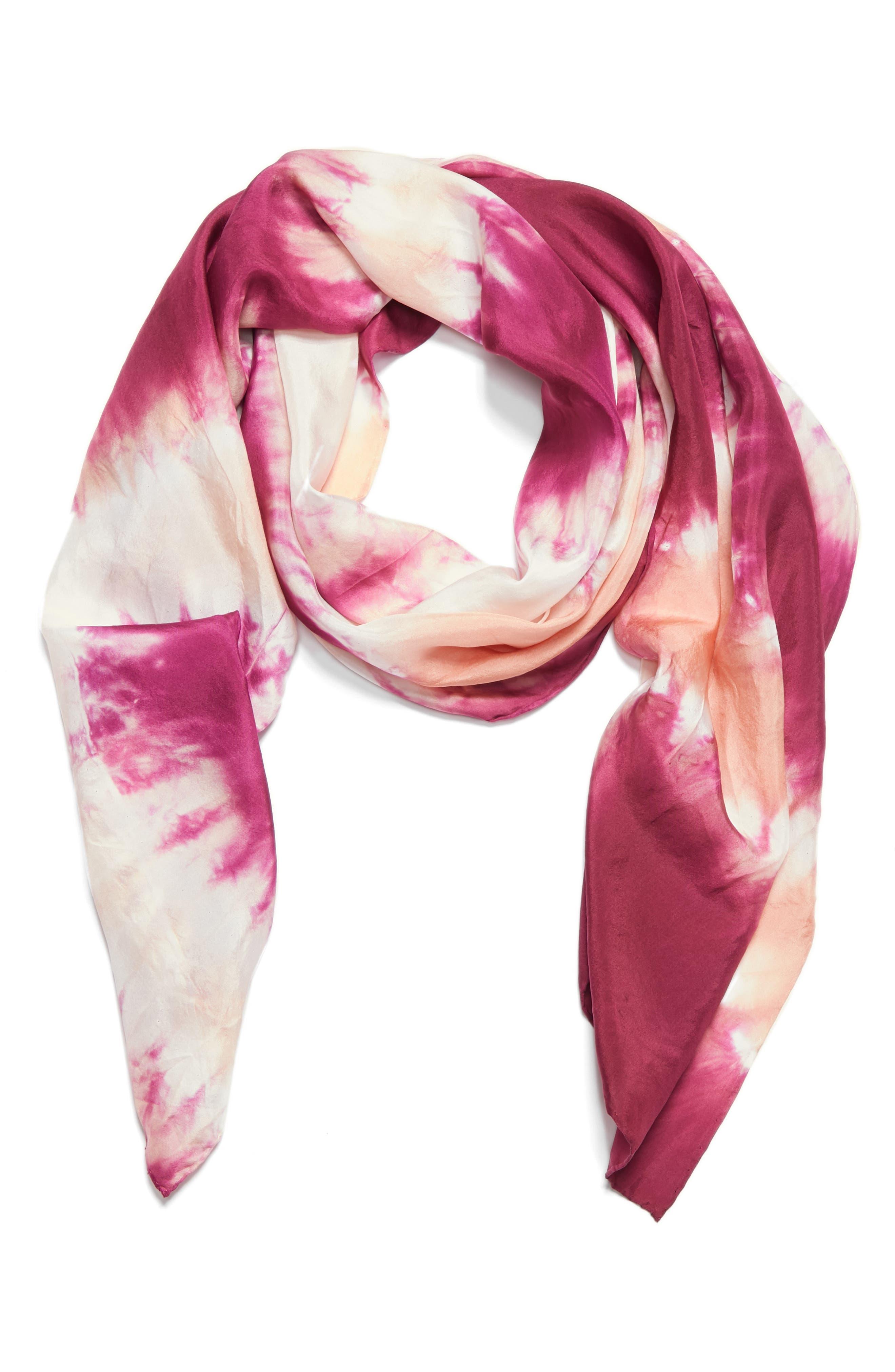 Tie Dye Silk Scarf,                             Alternate thumbnail 4, color,                             Cerise