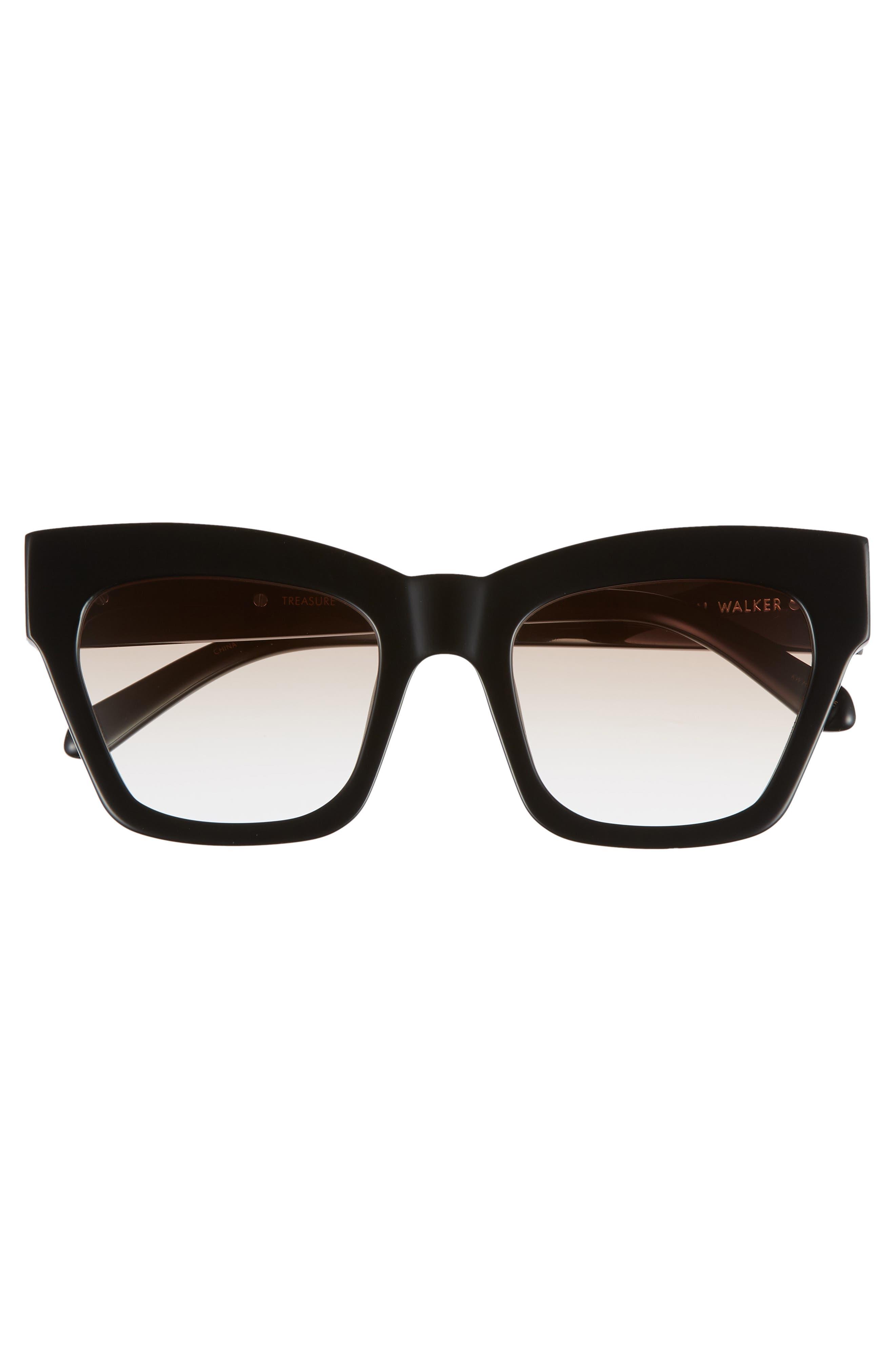 Treasure 52mm Cat Eye Sunglasses,                             Alternate thumbnail 3, color,                             Shiny Black/ Brown