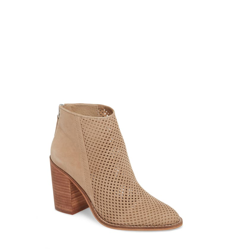 Rumble Perforated Bootie,                         Main,                         color, Taupe Suede