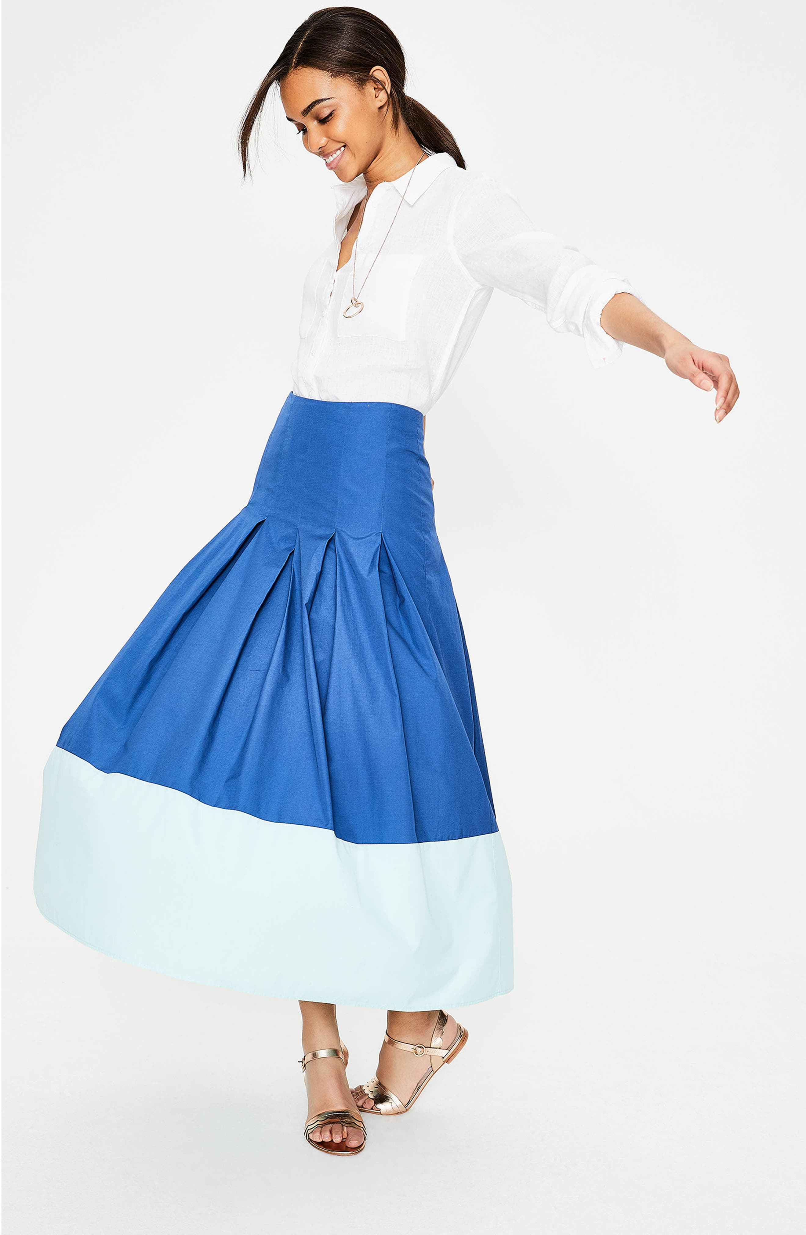 Beatrice Flare Midi Skirt,                             Alternate thumbnail 5, color,                             Riviera Blue W Rippl