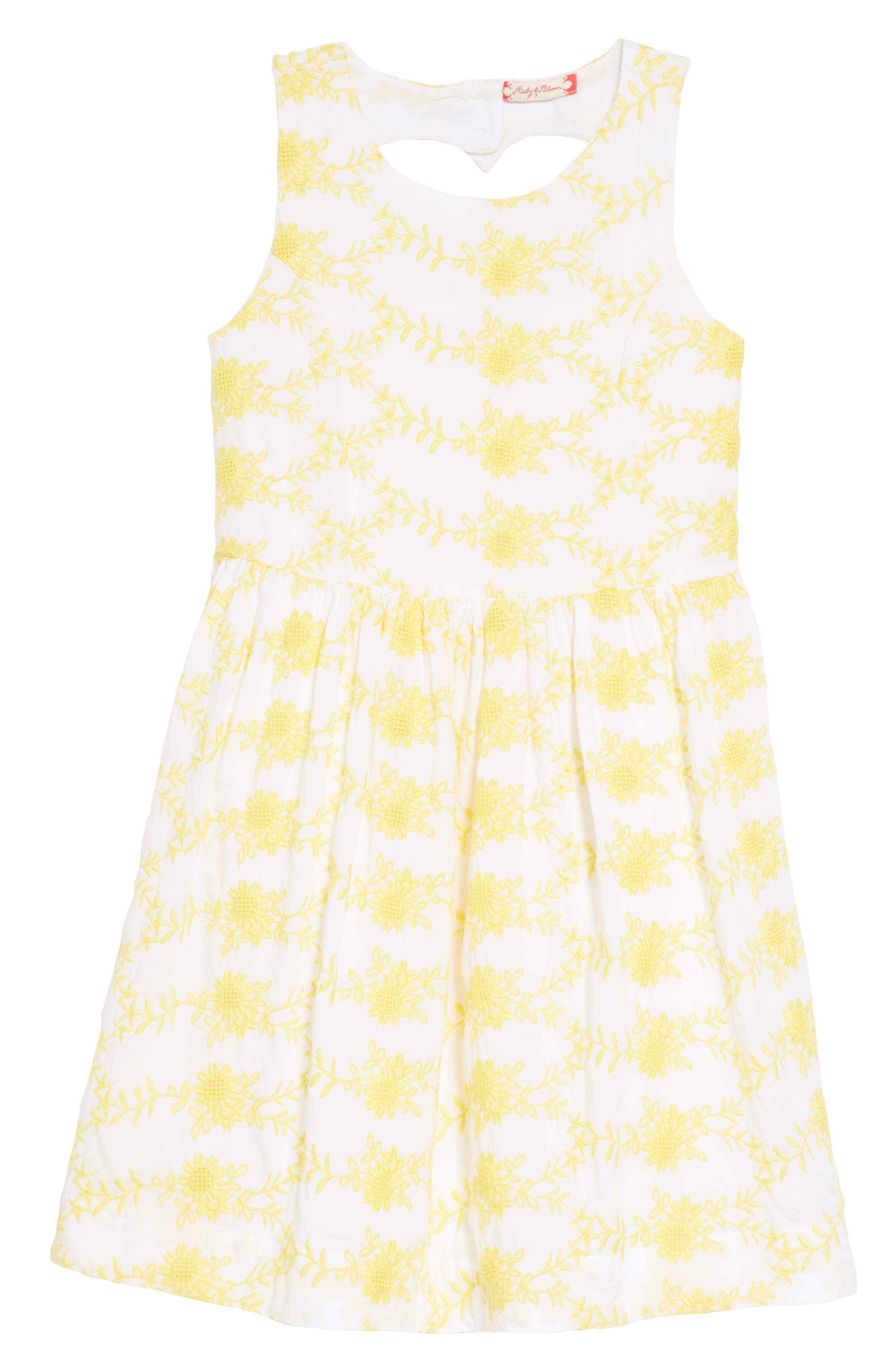 Embroidered Fit & Flare Dress,                         Main,                         color, White- Yellow