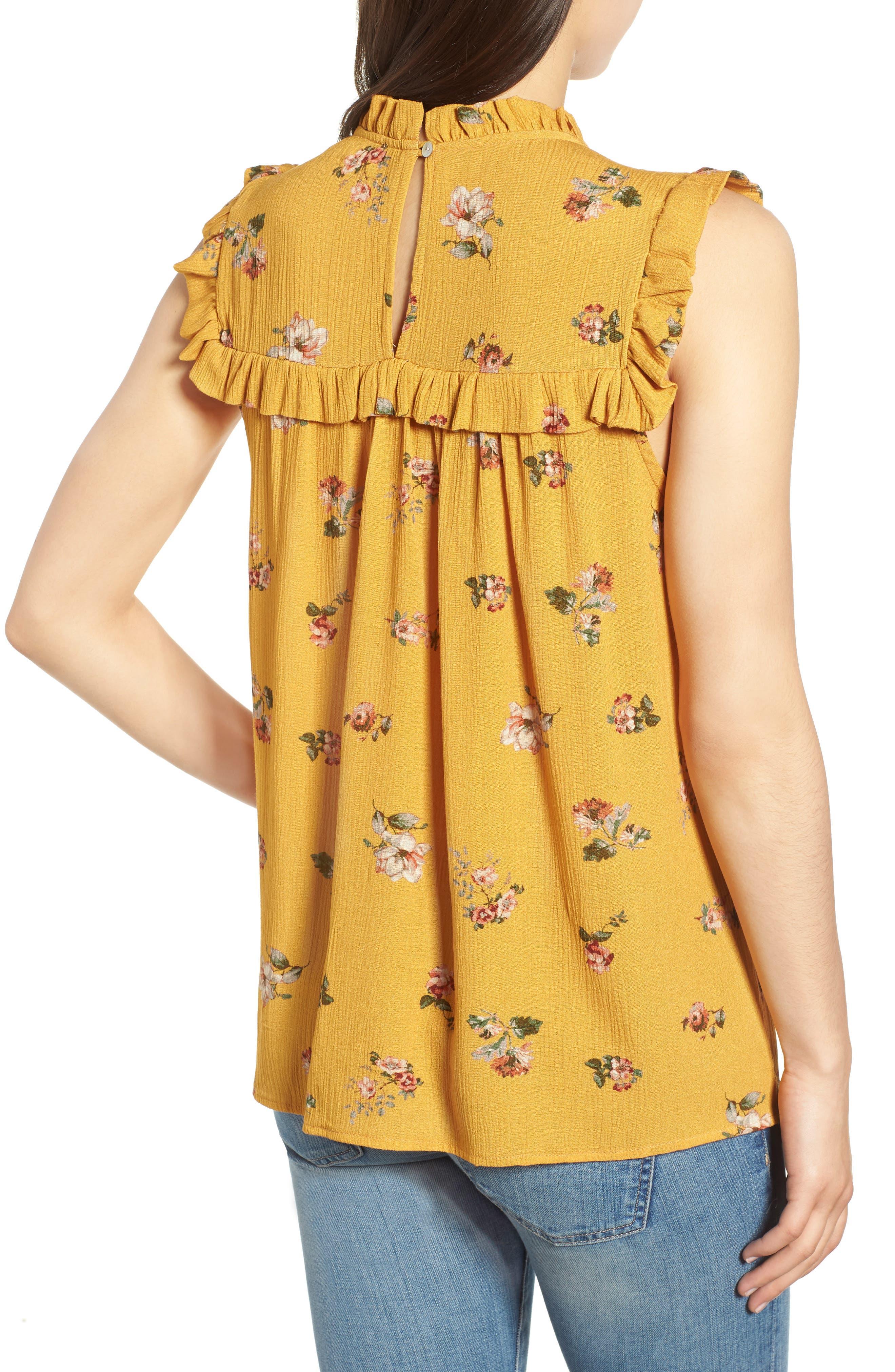 Ruffled Floral Top,                             Alternate thumbnail 2, color,                             Marigold Print