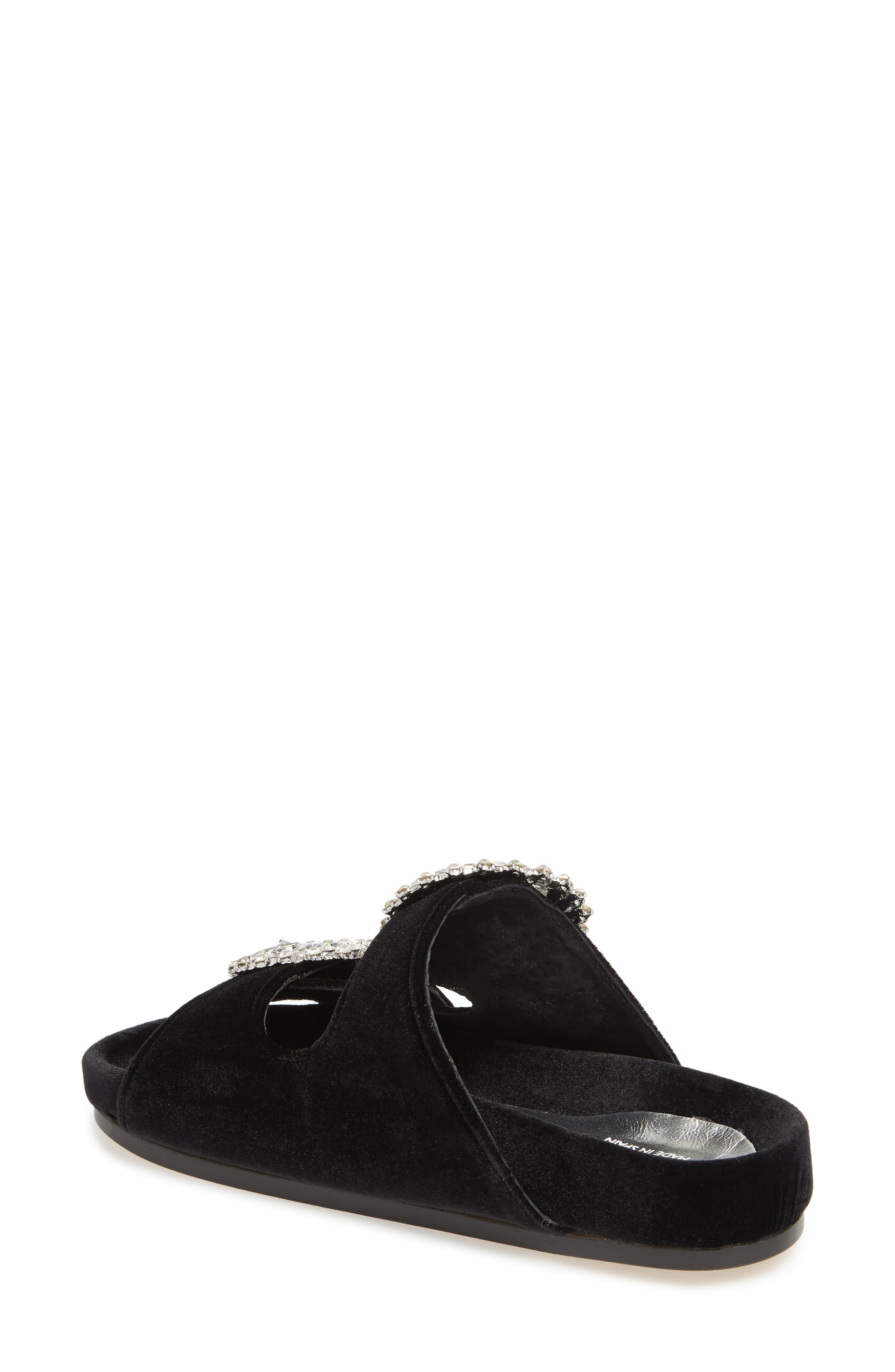 Izaro Embellished Slide Sandal,                             Alternate thumbnail 2, color,                             Black Velvet/ Silver