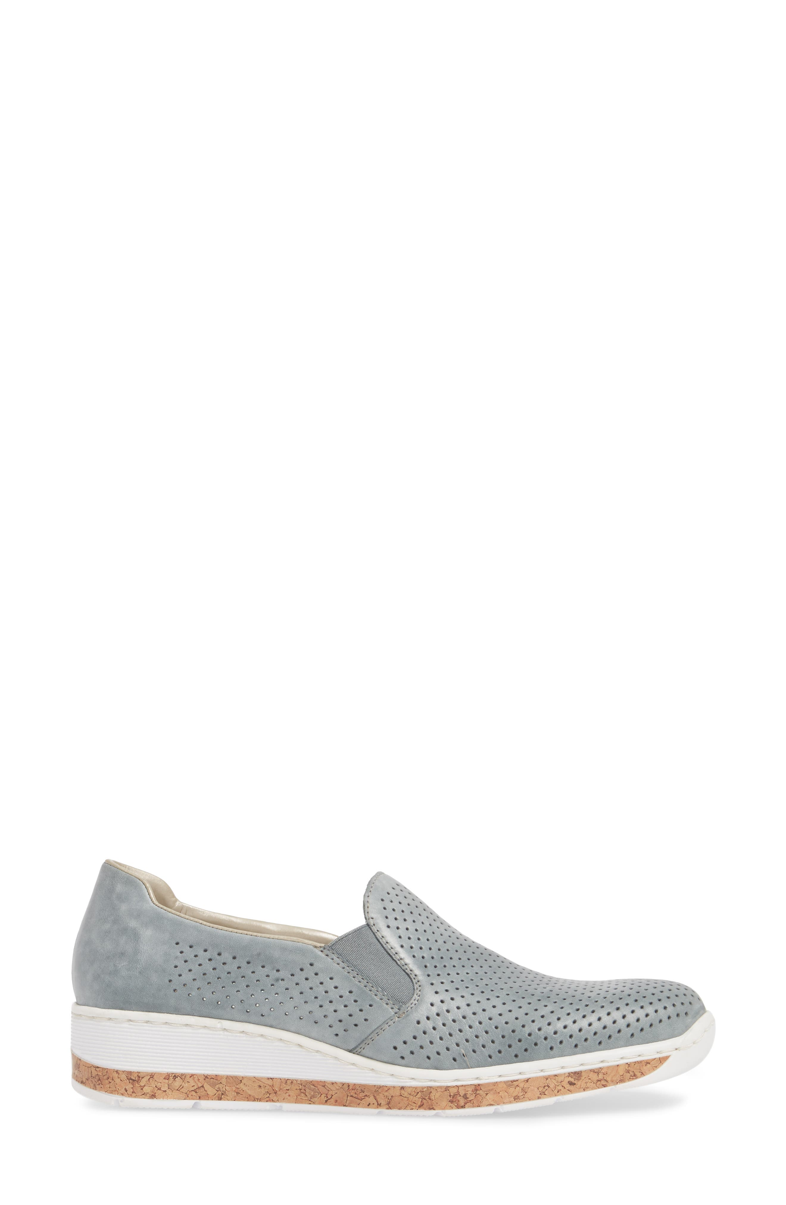 Doris 75 Wedge Sneaker,                             Alternate thumbnail 3, color,                             Royal Faux Leather