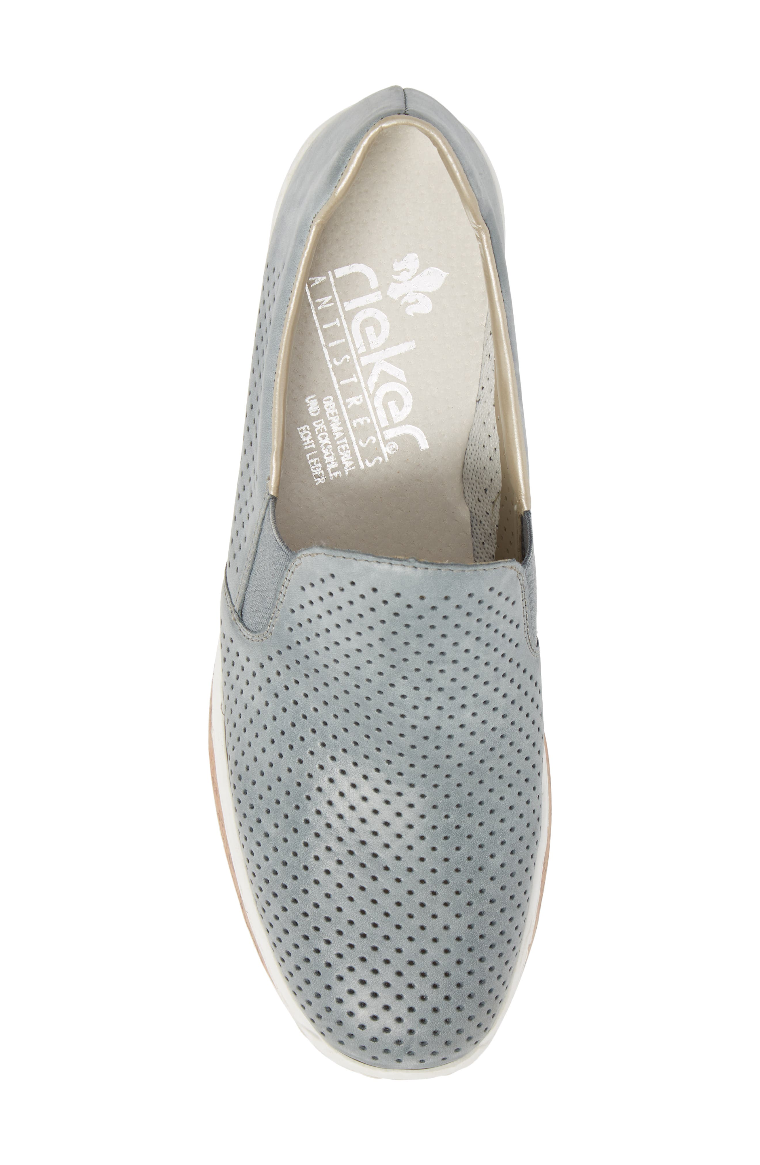 Doris 75 Wedge Sneaker,                             Alternate thumbnail 5, color,                             Royal Faux Leather