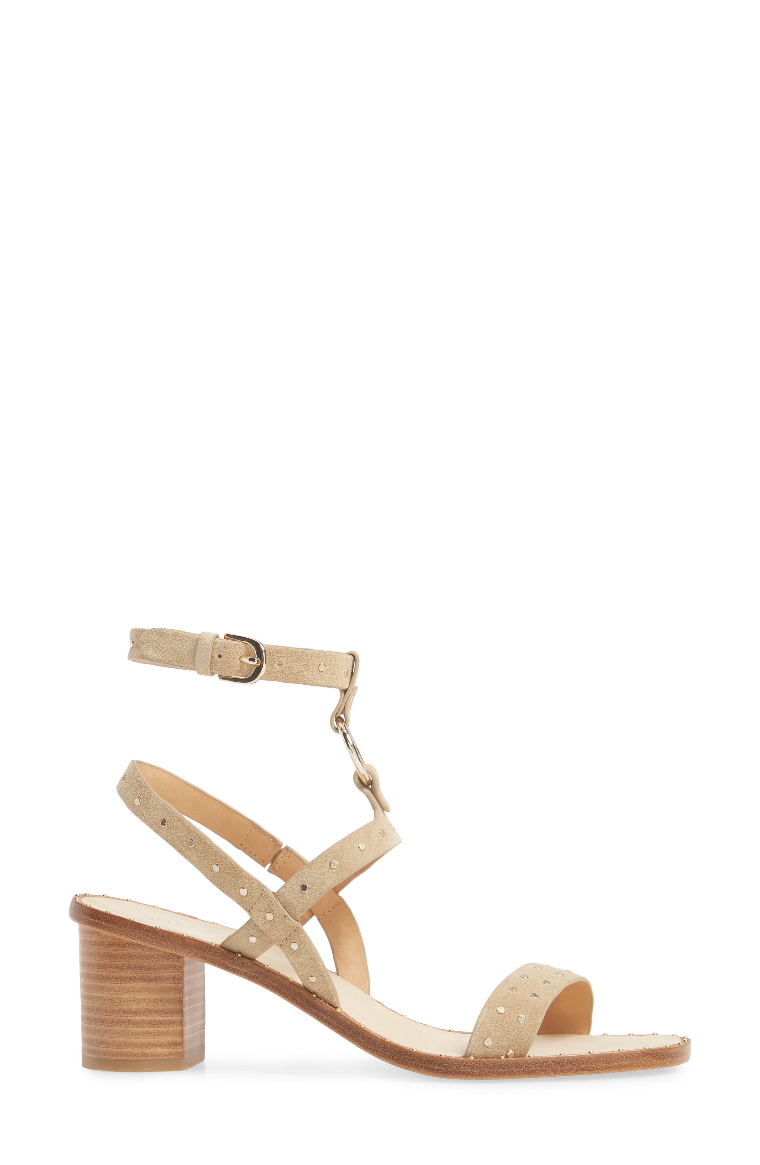 Medalca Studded Ankle Strap Sandal,                             Alternate thumbnail 3, color,                             Sand