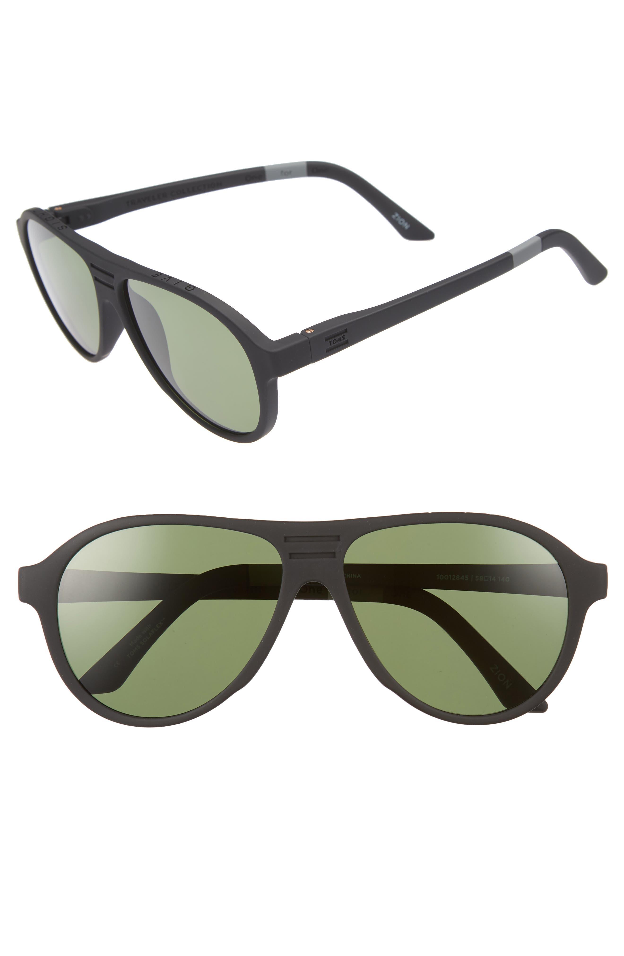 Traveler Zion 58mm Polarized Aviator Sunglasses,                             Main thumbnail 1, color,                             Matte Black/ Bottle Green