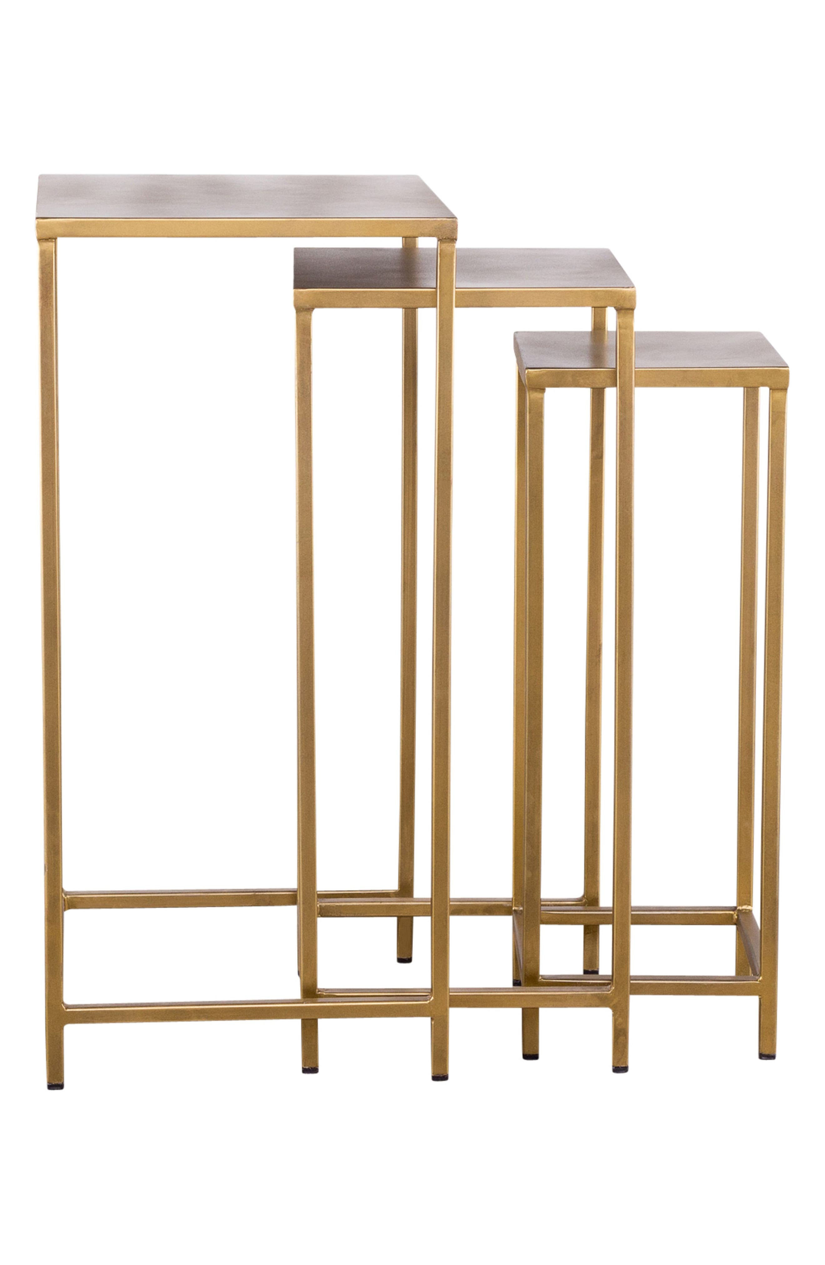 Pollock Set of 3 Tall Nesting Tables,                             Alternate thumbnail 3, color,                             Brass