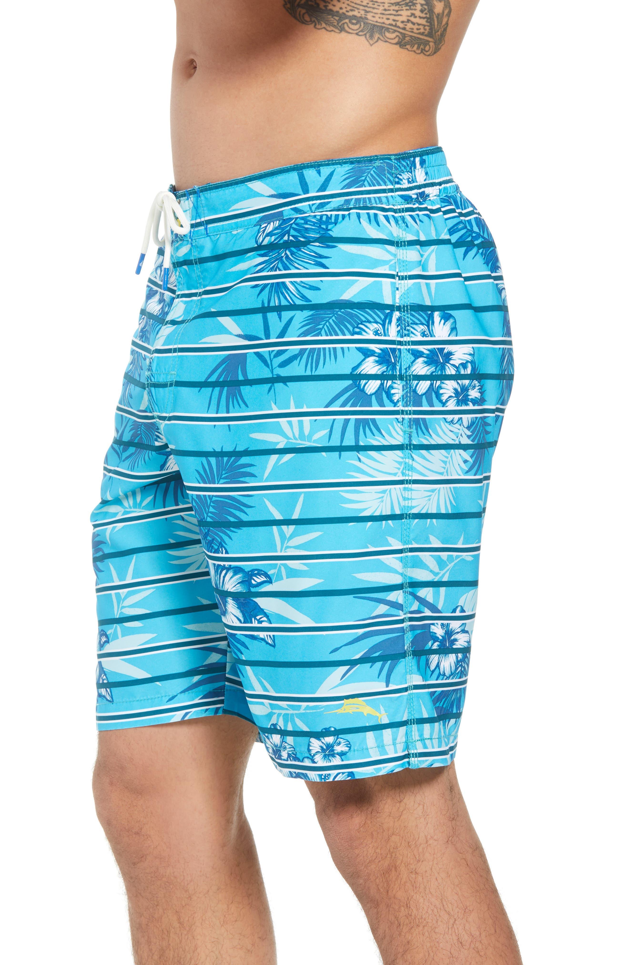 Baja Satillo Stripe Board Shorts,                             Alternate thumbnail 4, color,                             Blue Radiance