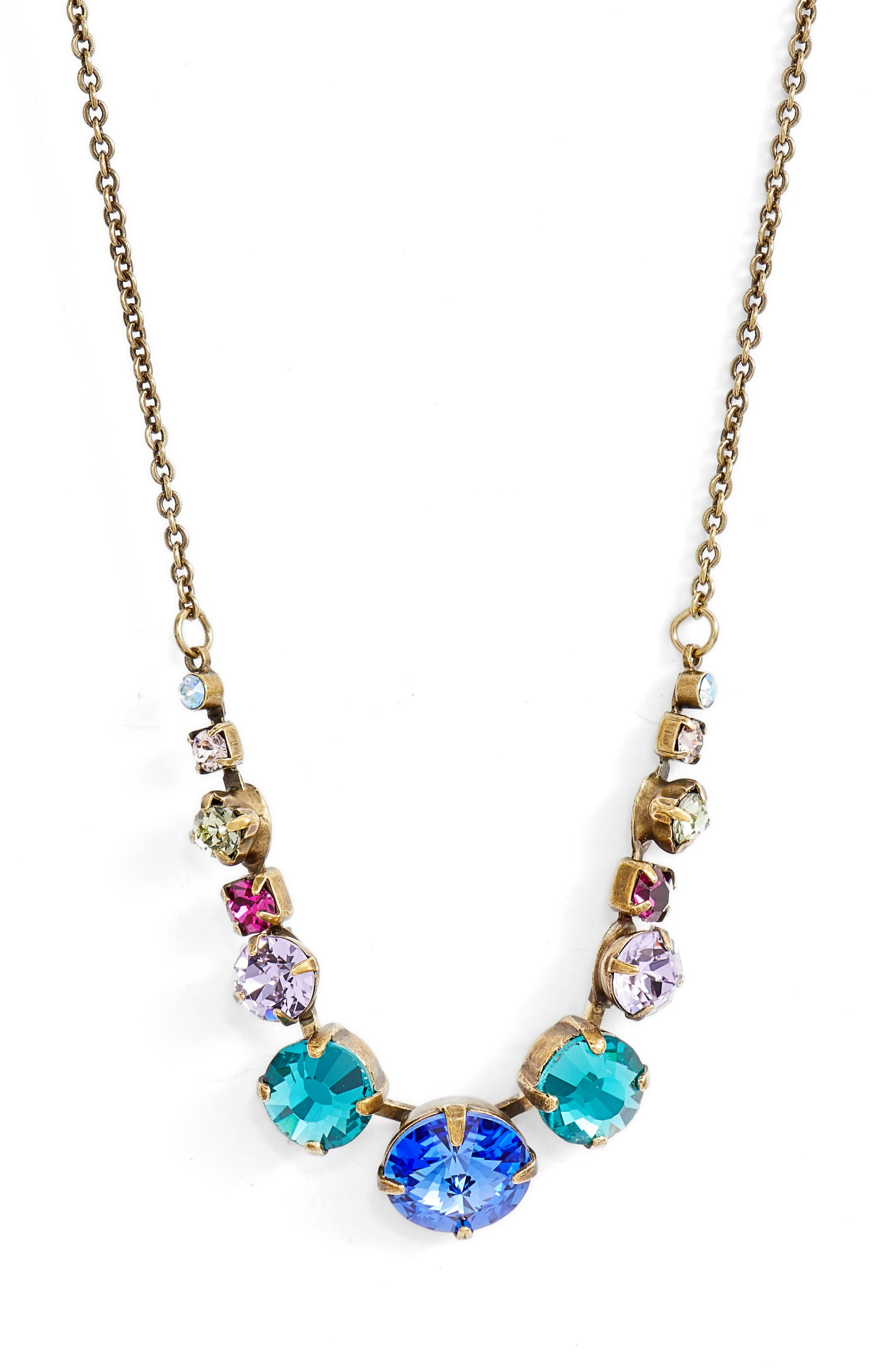 Delicate Round Crystal Necklace,                             Main thumbnail 1, color,                             Gold Multi