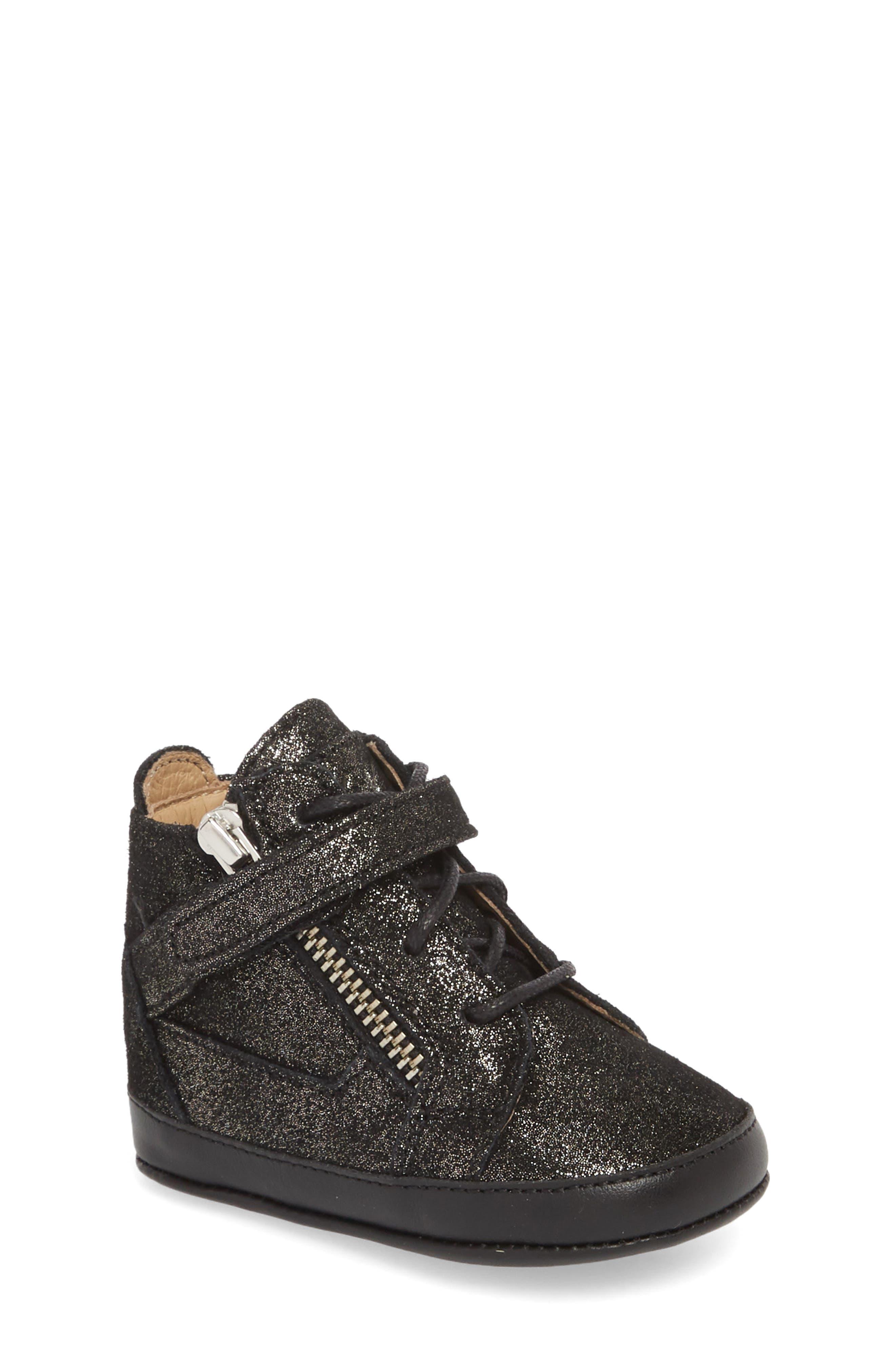 Culla London High Top Crib Sneaker,                             Main thumbnail 1, color,                             Black Glitter