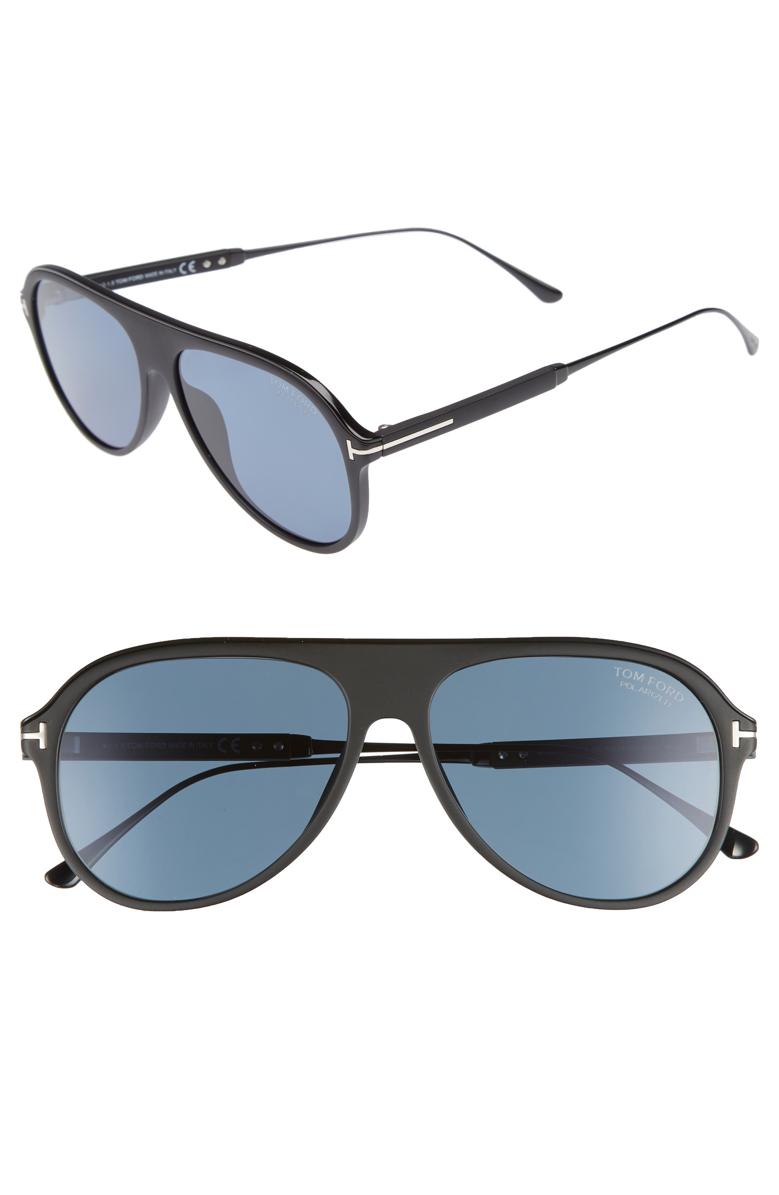 Tom Ford Nicholai 57mm Polarized Sunglasses
