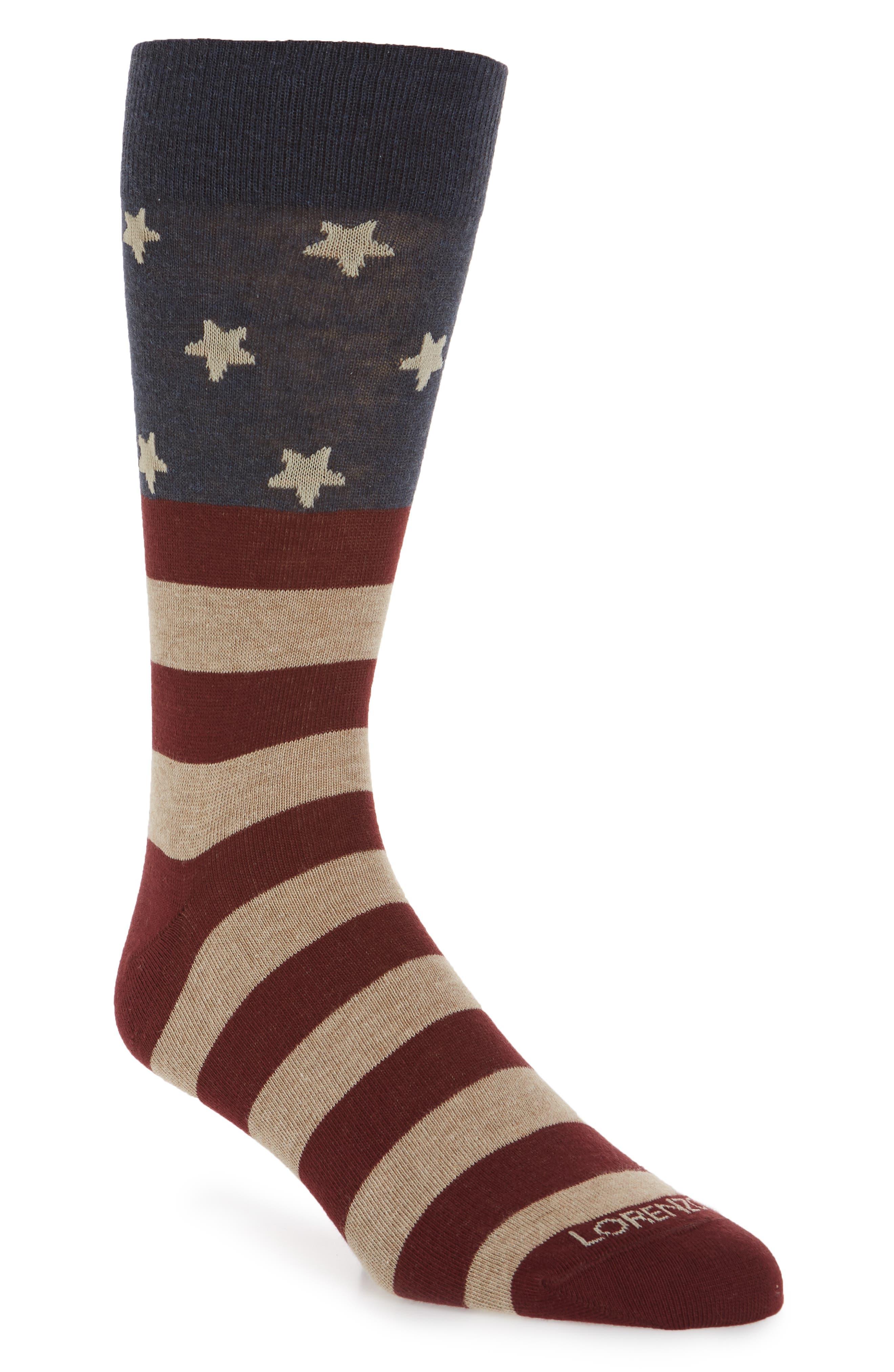 Flag Crew Socks,                             Main thumbnail 1, color,                             Navy