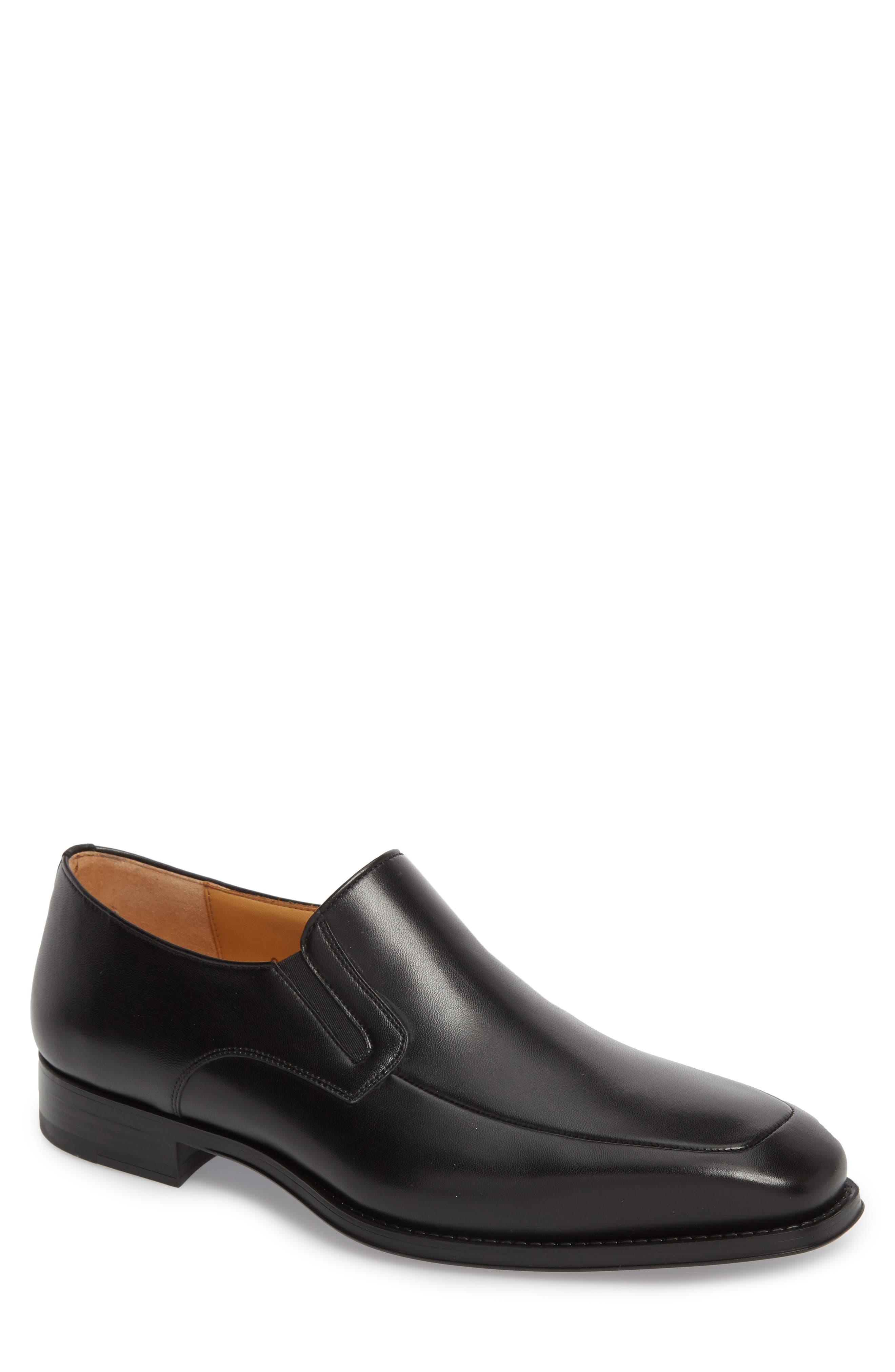Fabricio Apron Toe Slip-On,                             Main thumbnail 1, color,                             Black Leather