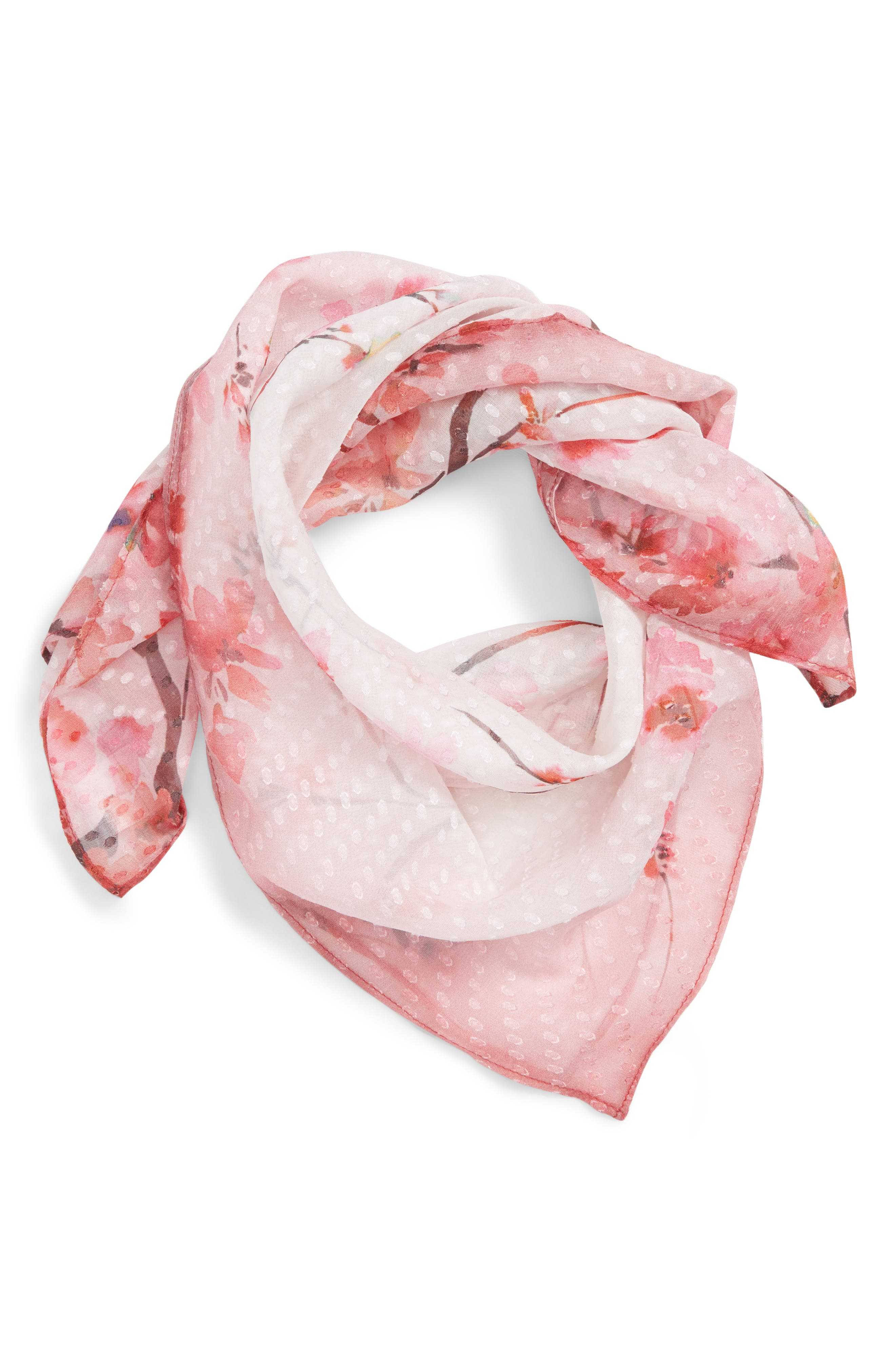 Jacquard Dot Silk Blend Scarf,                             Alternate thumbnail 2, color,                             Pink Enlightened Branches