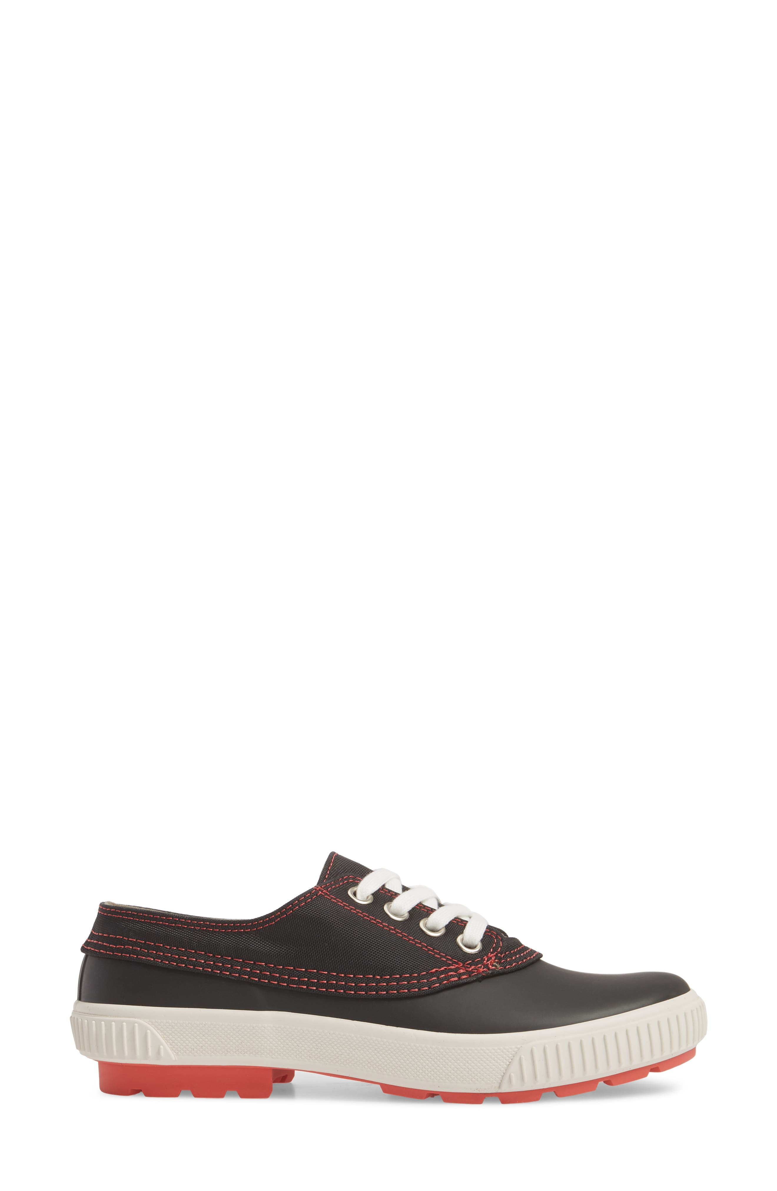 Dash Duck Sneaker,                             Alternate thumbnail 3, color,                             Black/ Coral