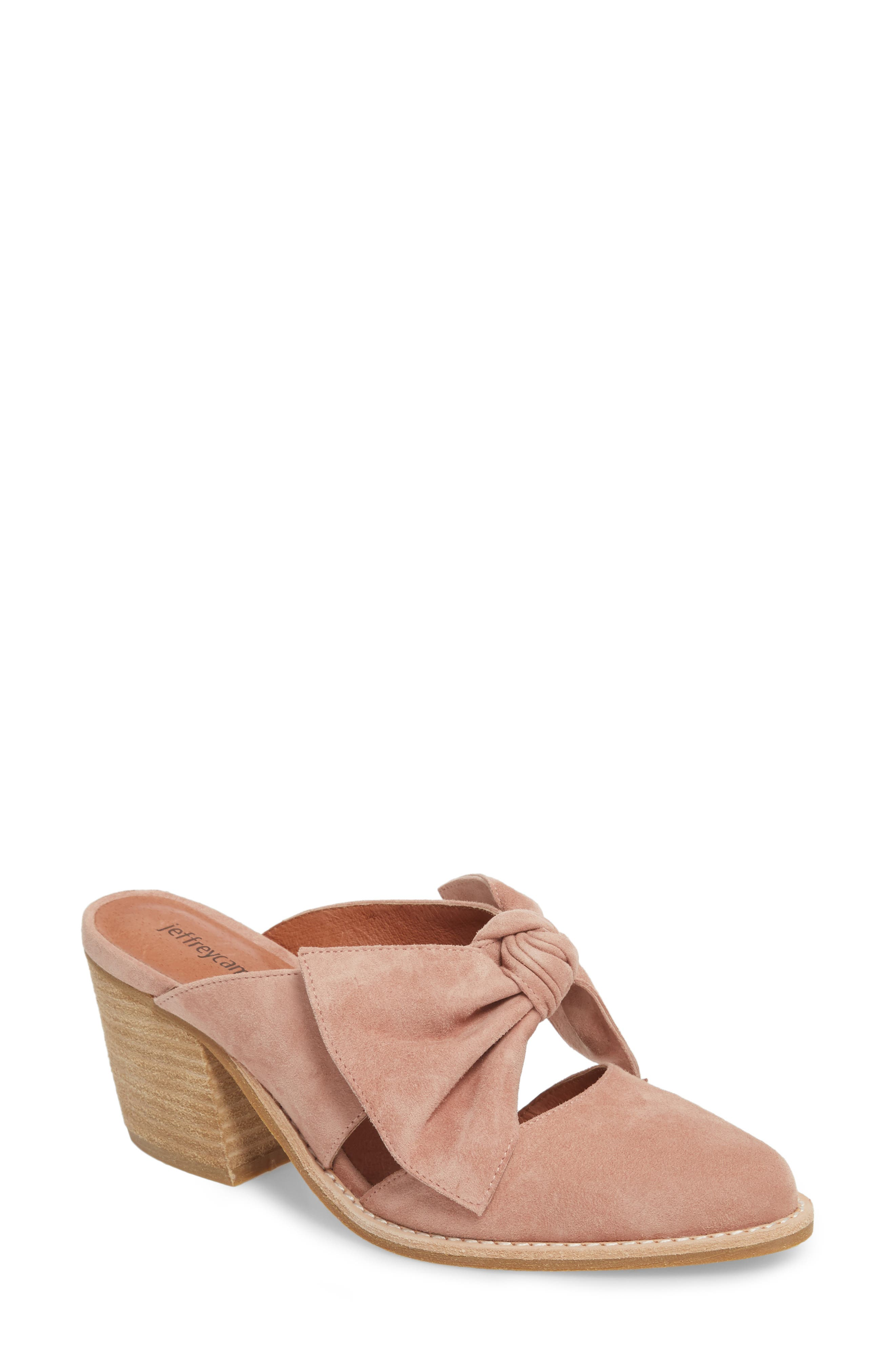 Cyrus Knotted Mary Jane Mule,                         Main,                         color, Blush Suede