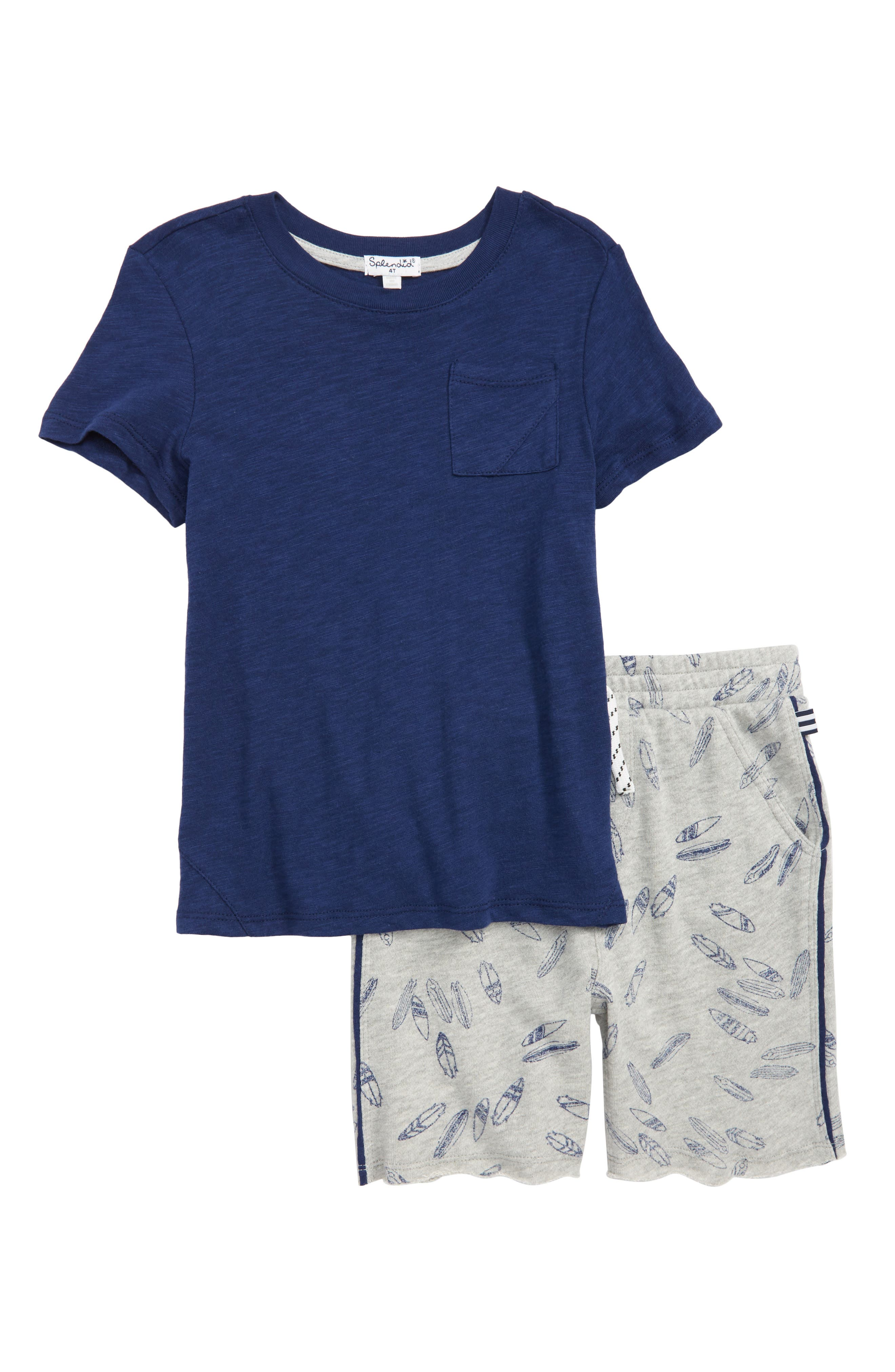 Splendid T-Shirt & Surfboard Graphic Shorts Set (Toddler Boys)