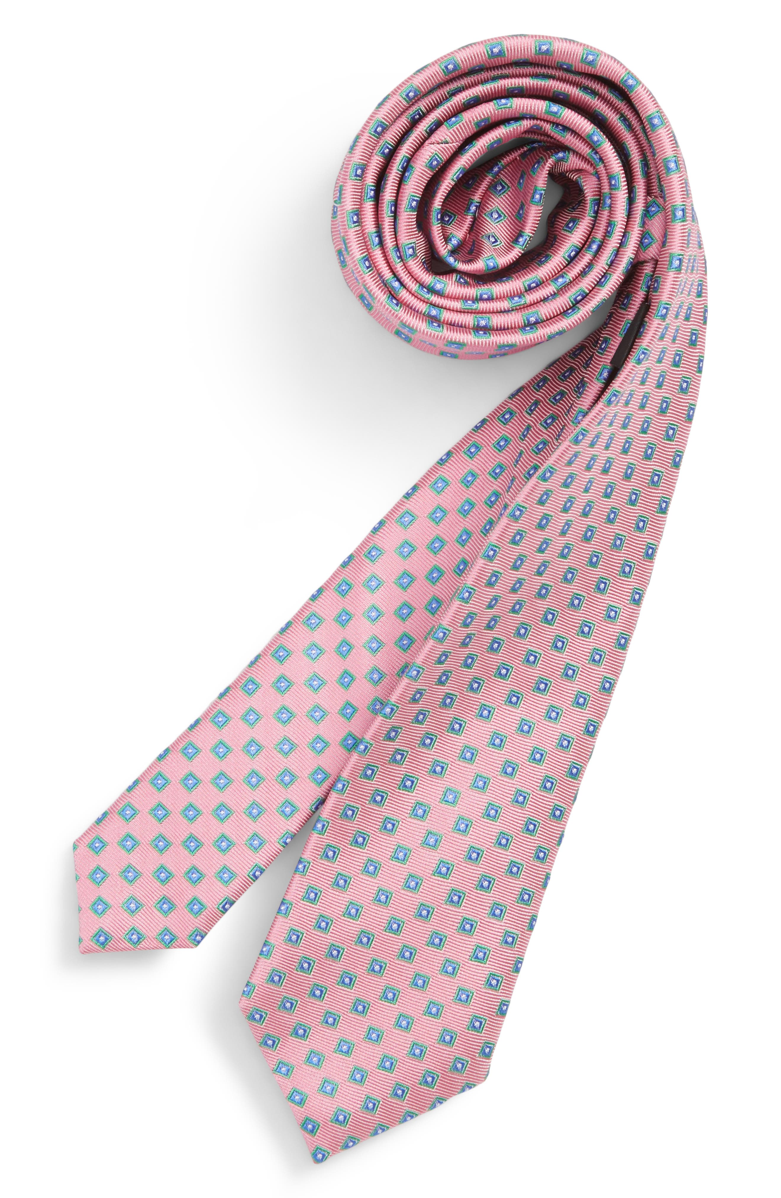 Piazza Geometric Silk Tie,                             Main thumbnail 1, color,                             Pink