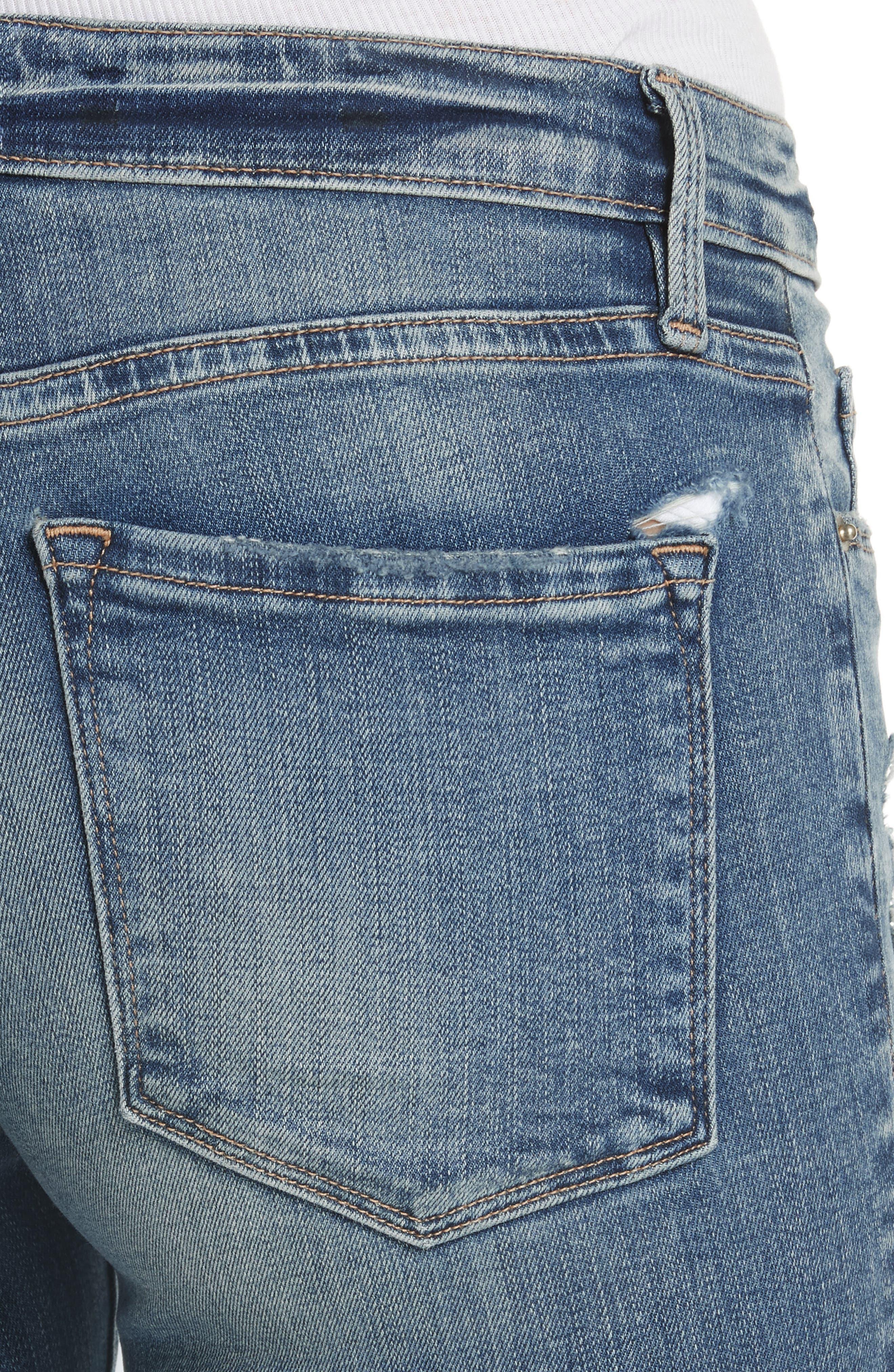 Le Skinny de Jeanne Crop Jeans,                             Alternate thumbnail 4, color,                             Stokes