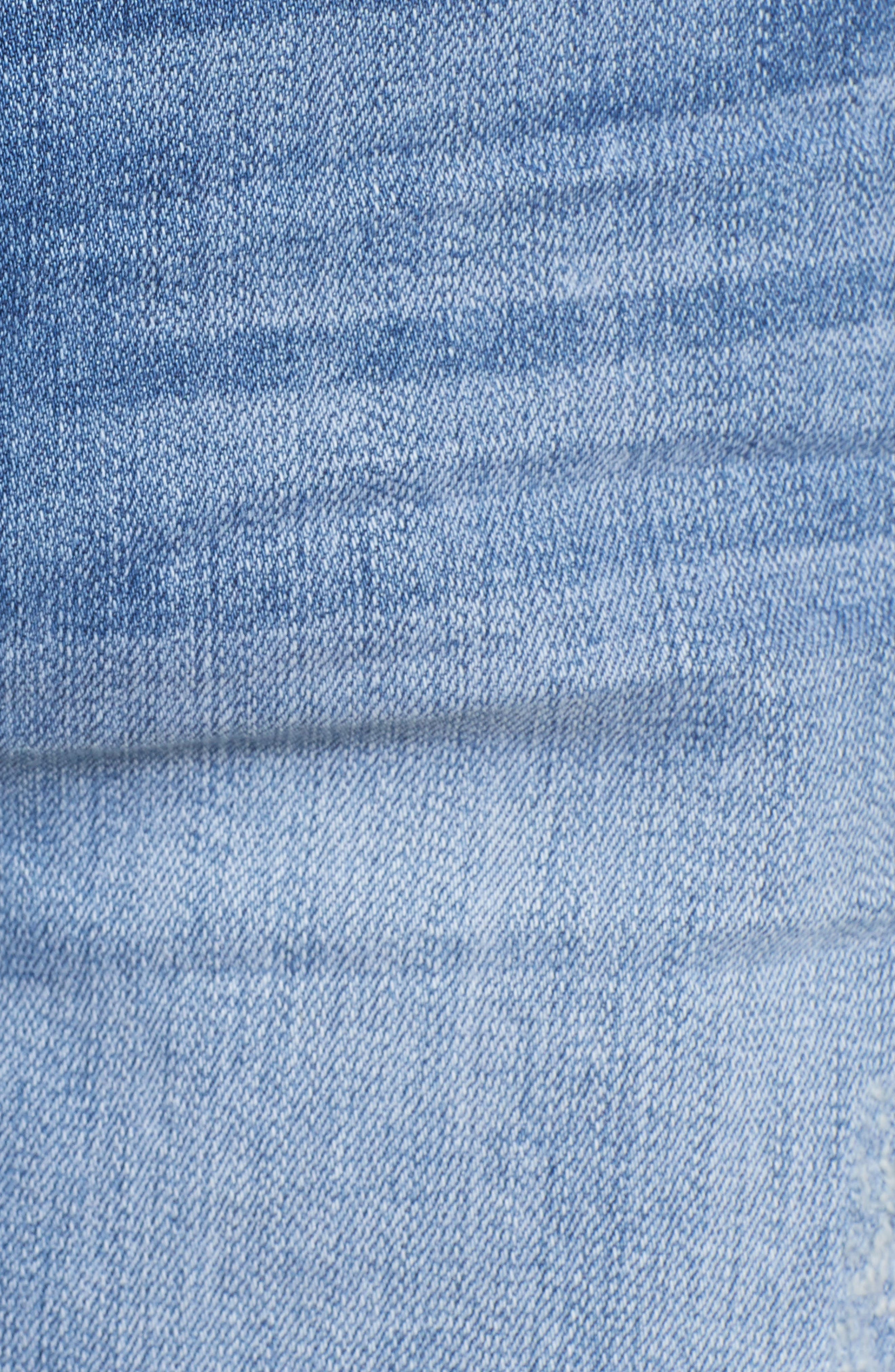 Cuffed Boyfriend Denim Shorts,                             Alternate thumbnail 6, color,                             Med Wash
