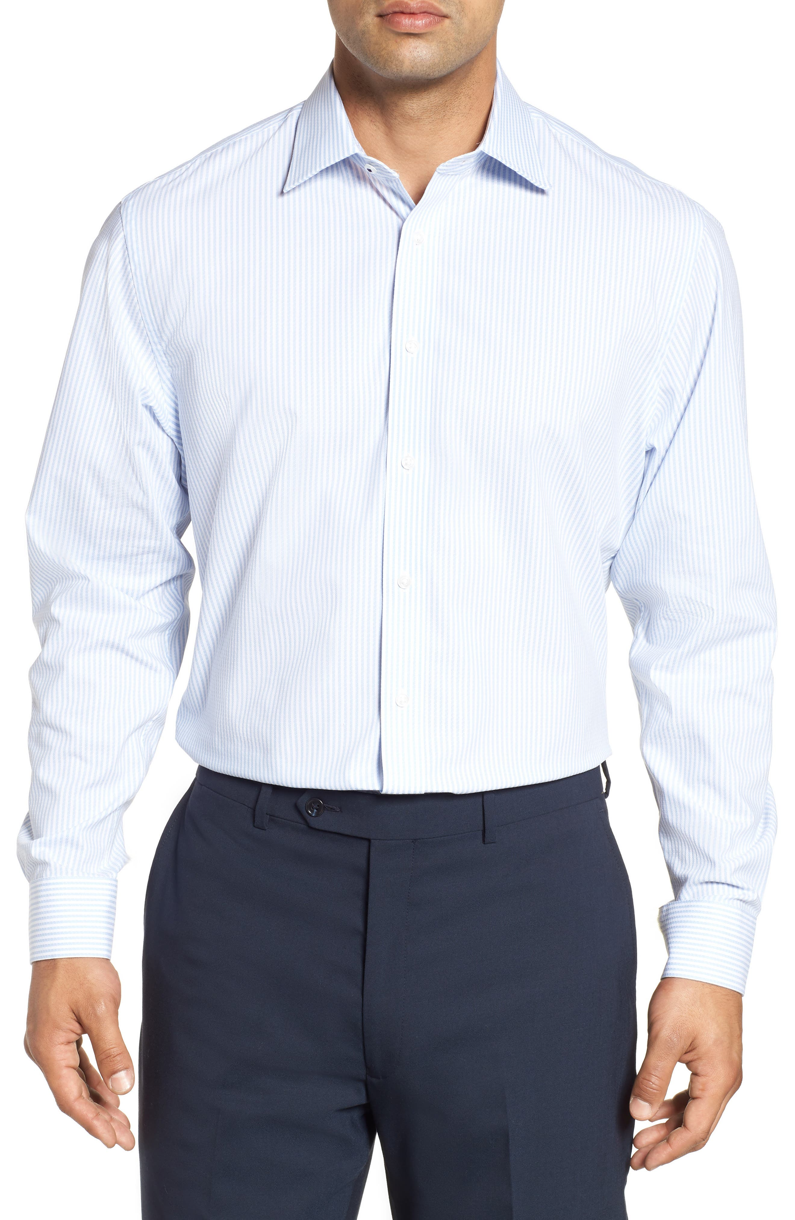Tech-Smart Traditional Fit Stripe Stretch Dress Shirt,                         Main,                         color, Blue Brunnera