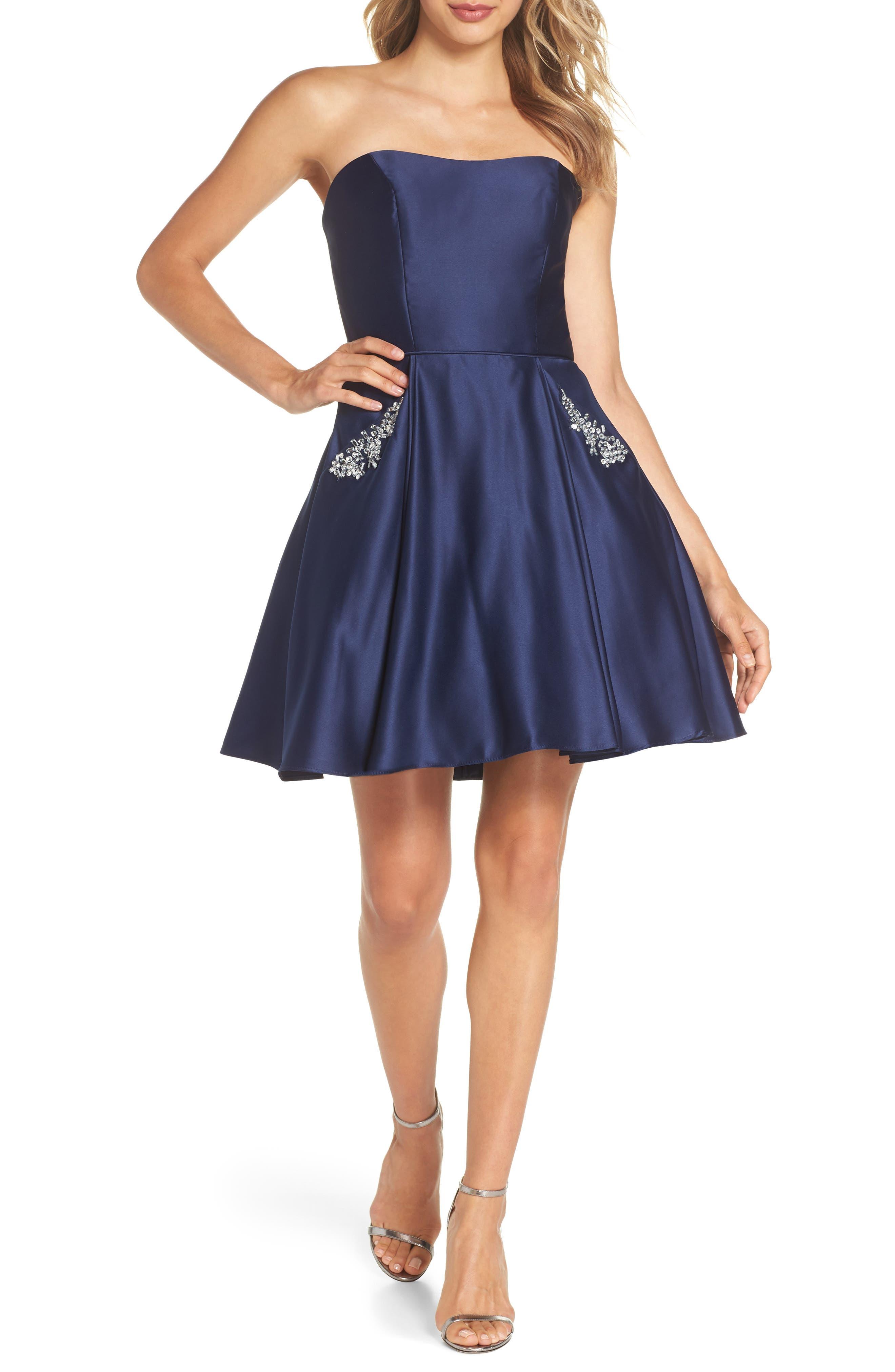 Embellished Satin Fit & Flare Dress,                             Main thumbnail 1, color,                             Navy