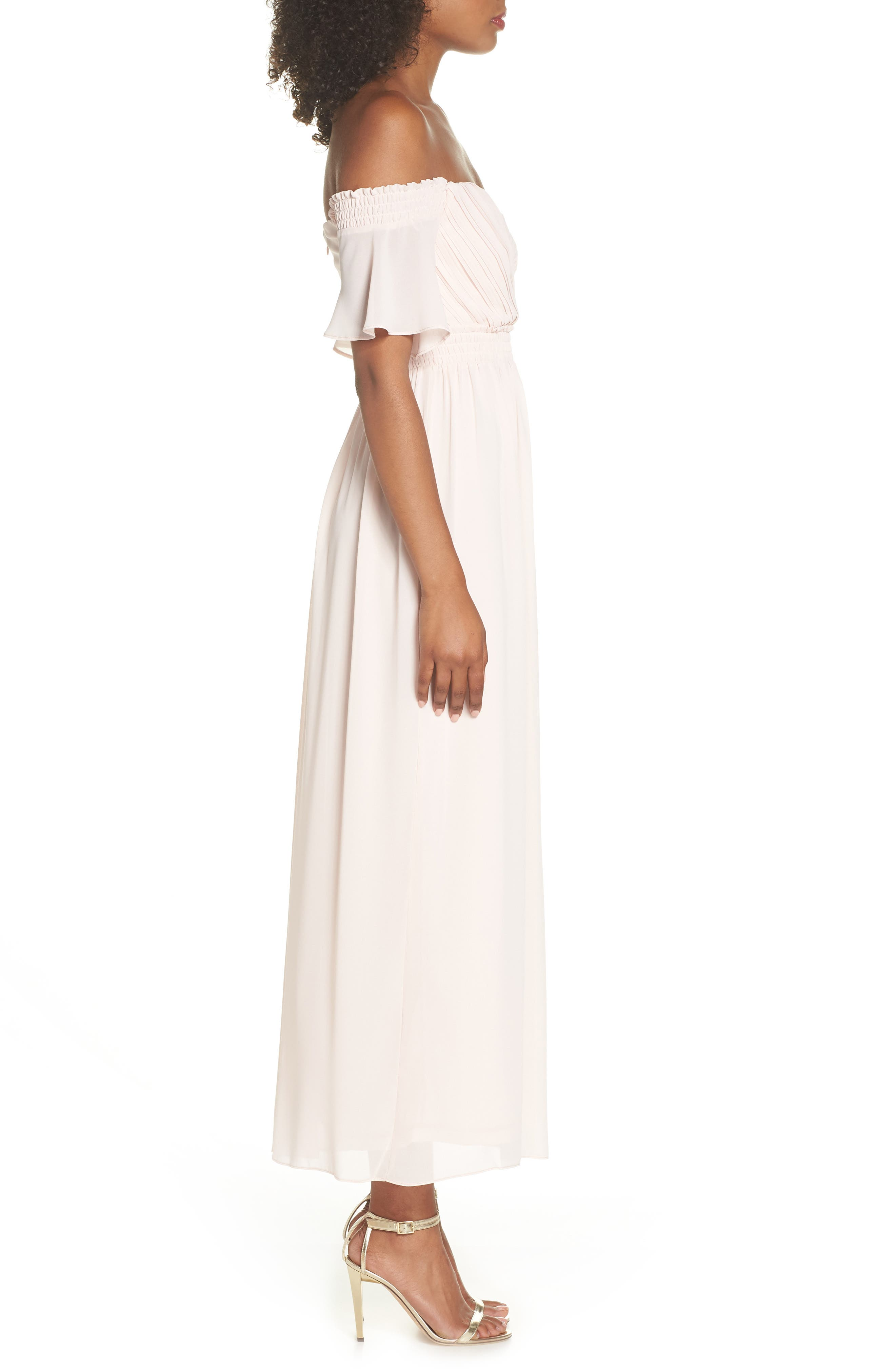 Freida Off the Shoulder Maxi Dress,                             Alternate thumbnail 3, color,                             Peach Blush