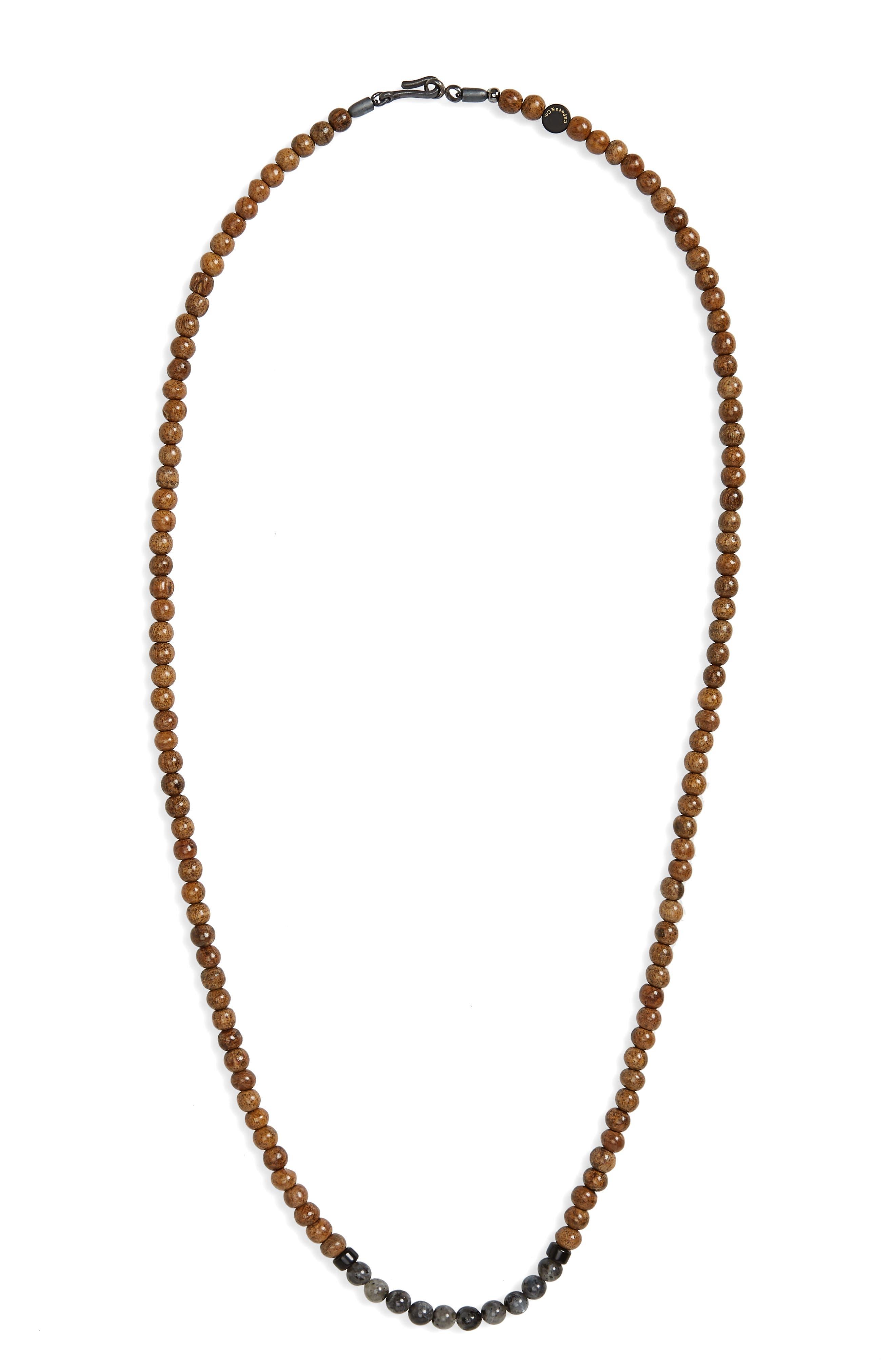 Ubud Stone Bead Necklace,                         Main,                         color, Black Labradorite