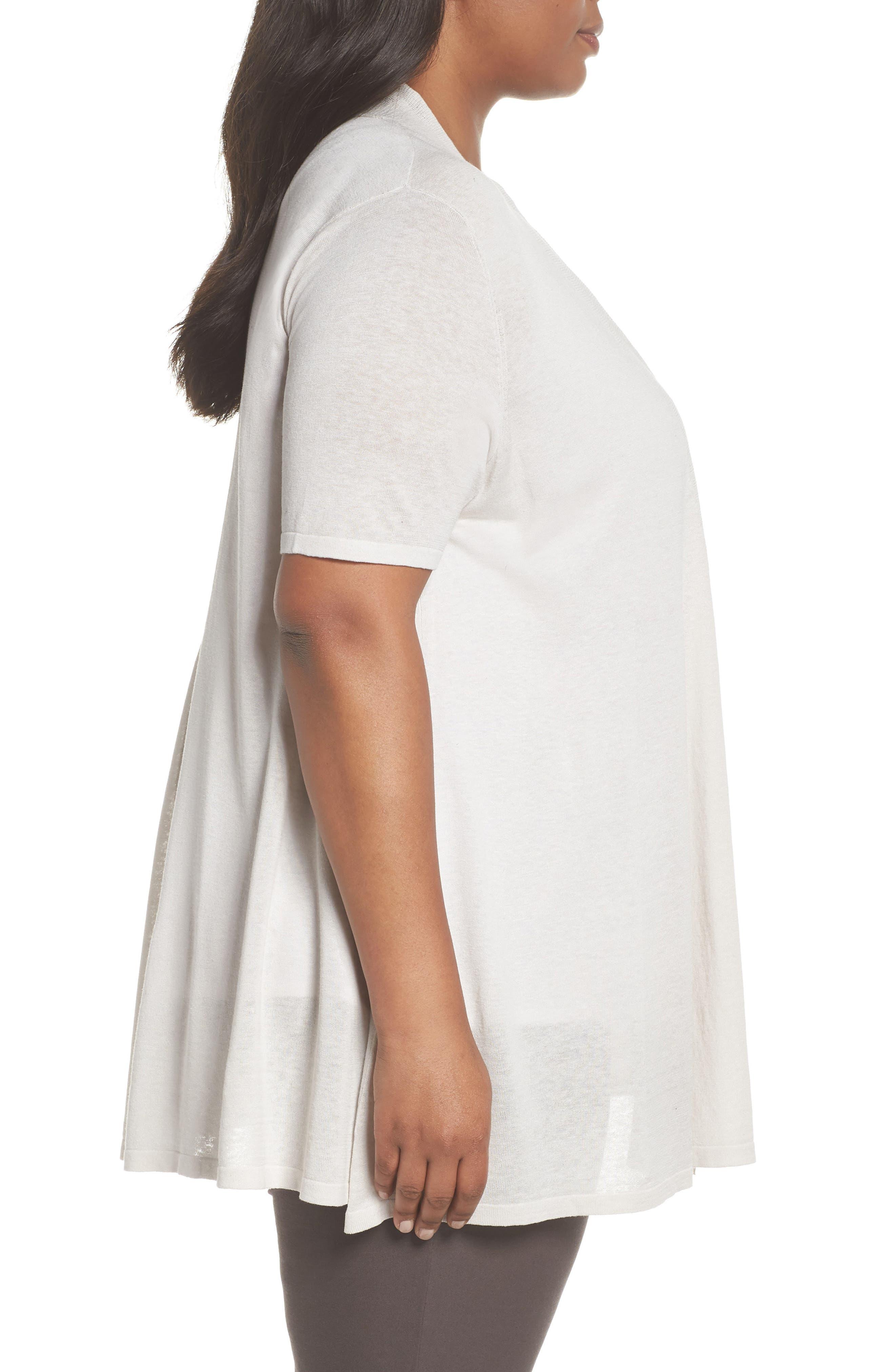 Silk & Organic Linen Long Cardigan,                             Alternate thumbnail 3, color,                             Bone